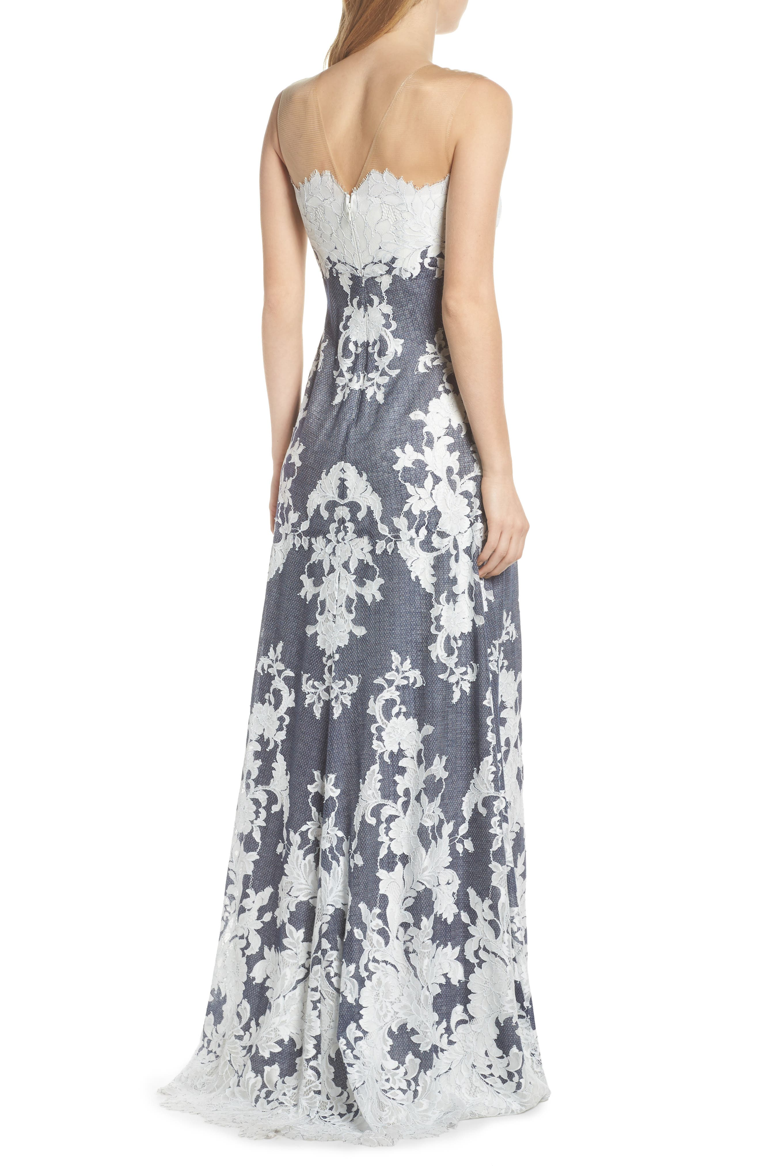 Illusion Neck Embroidered Gown,                             Alternate thumbnail 2, color,                             Navy/ Ivory