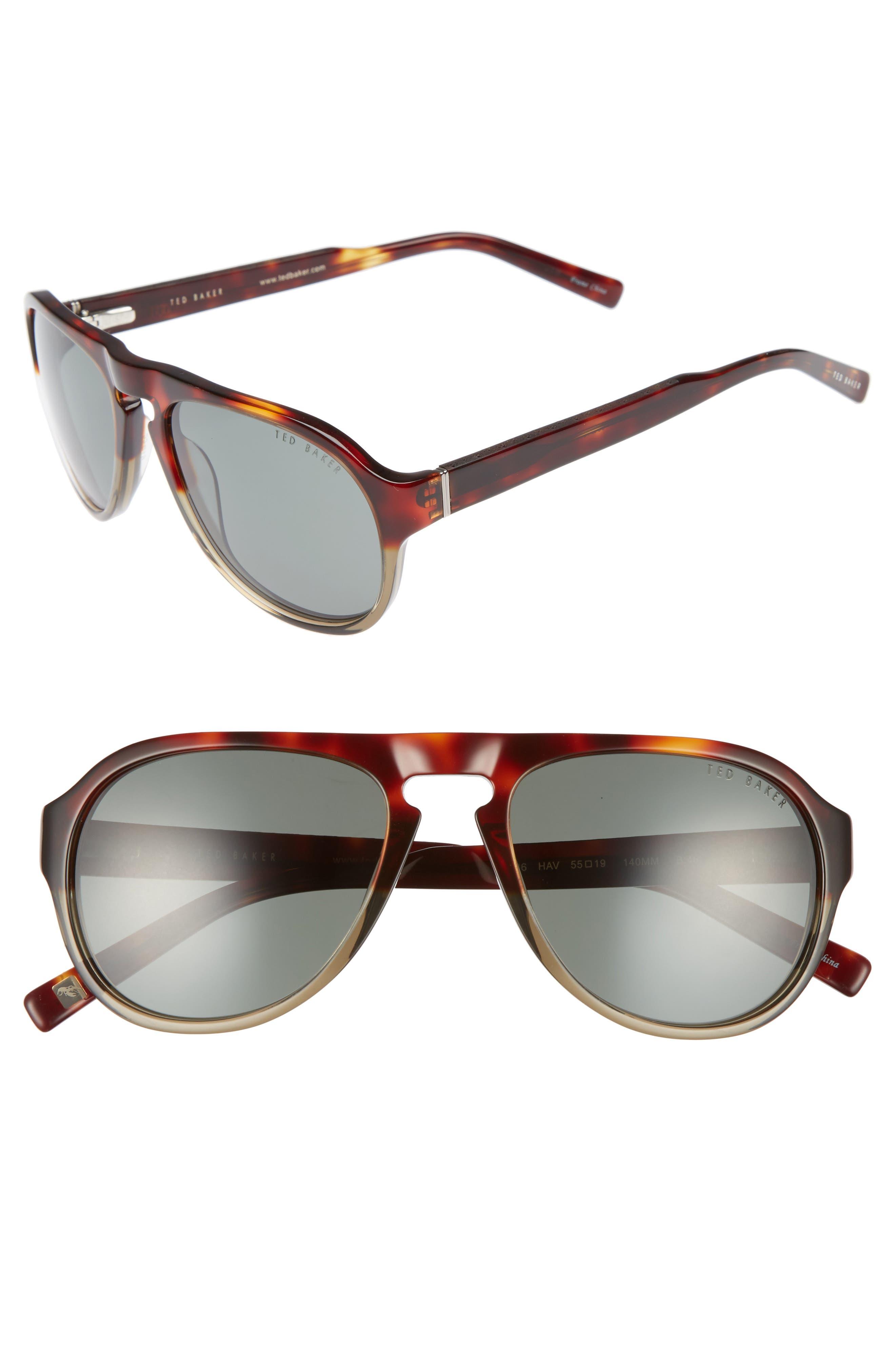 55mm Polarized Aviator Sunglasses,                         Main,                         color, Tortoise Havana