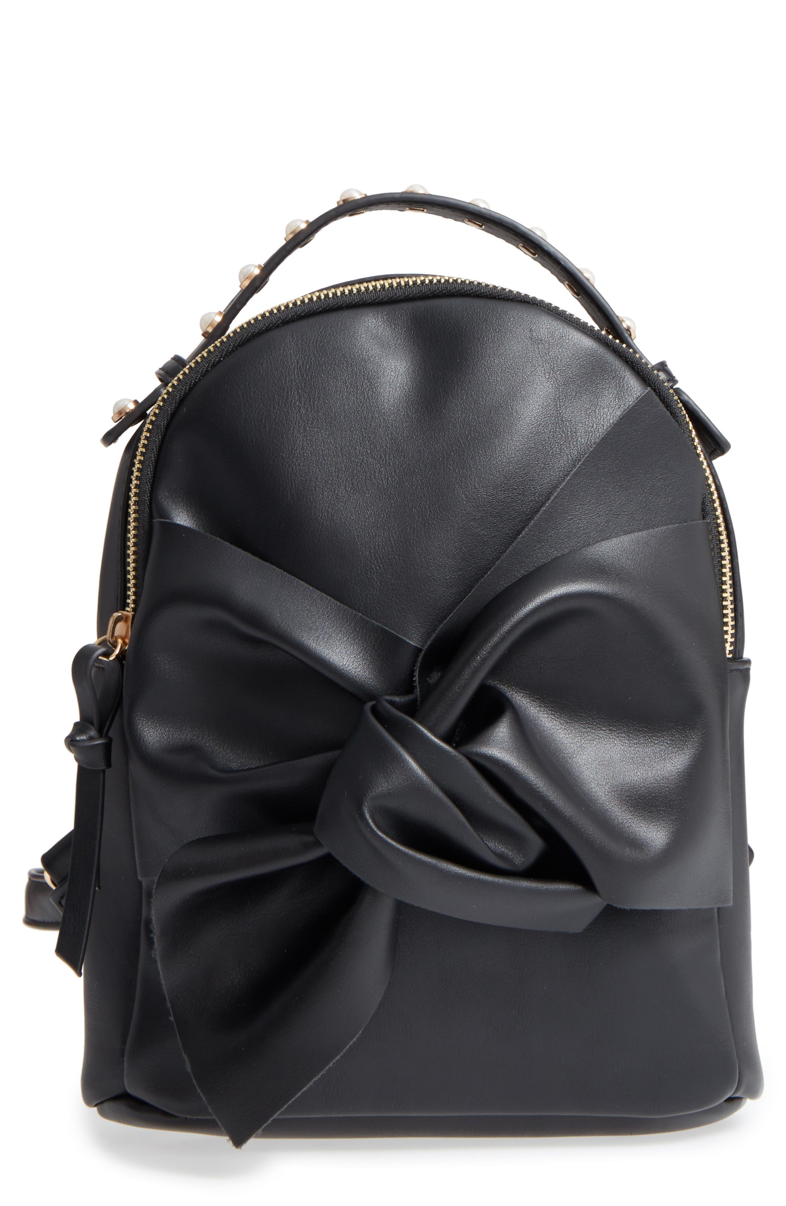 Imitation Pearl Handle Bow Mini Backpack,                             Main thumbnail 1, color,                             Black