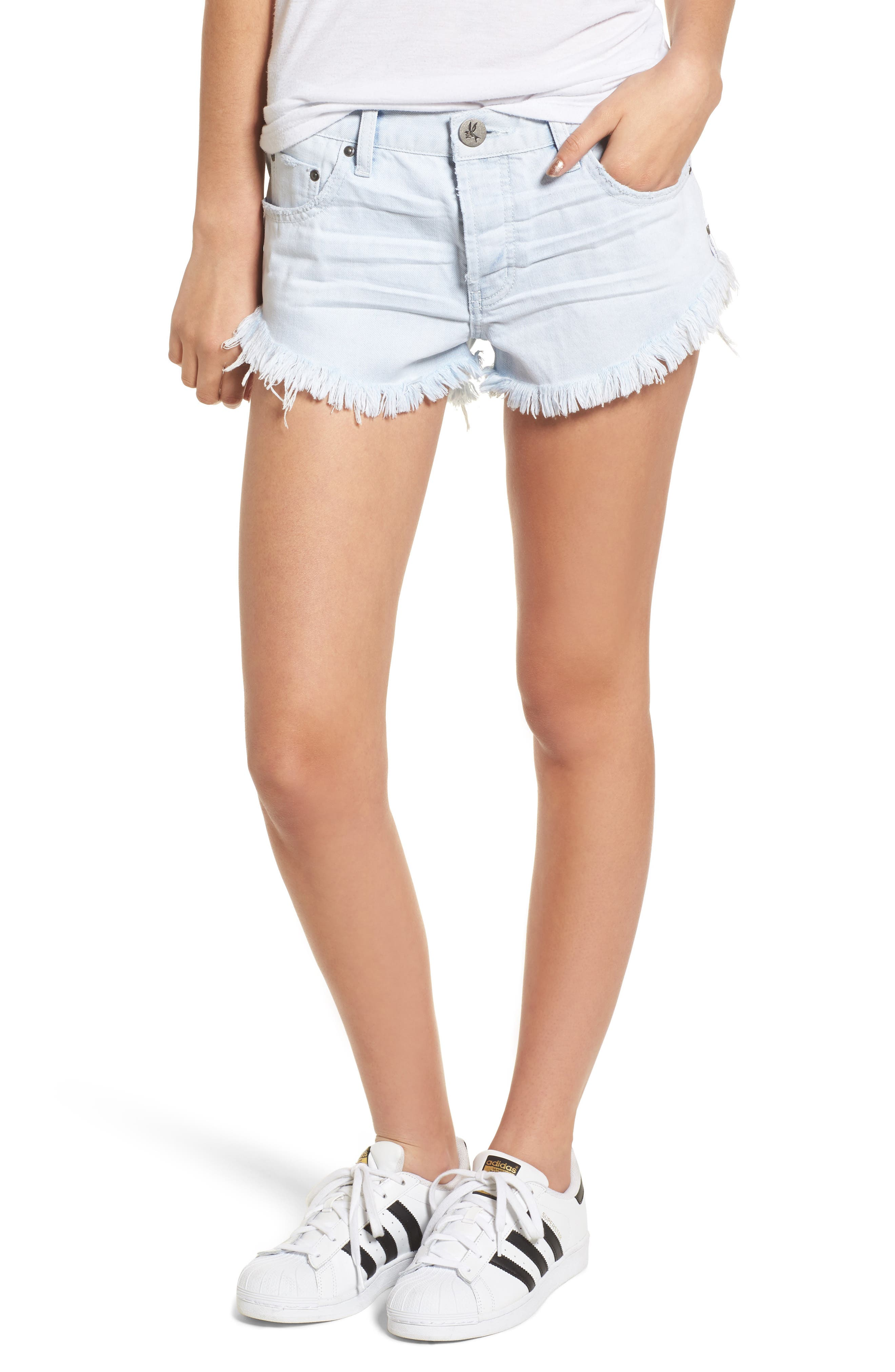 One Teaspoon Brando Frayed Hem Denim Shorts