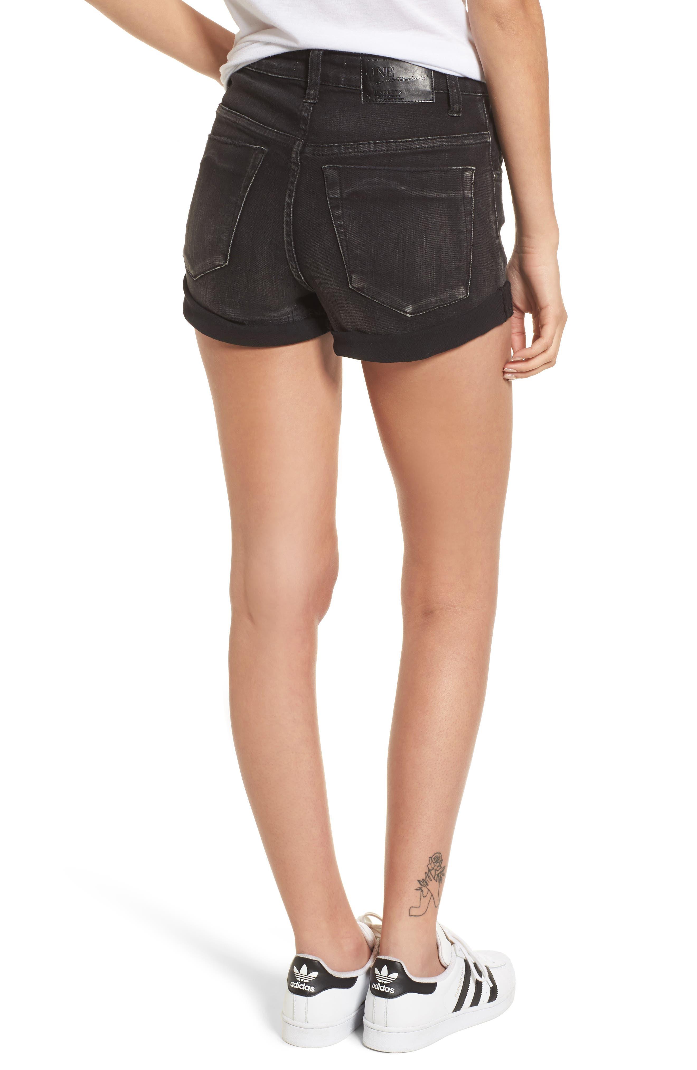 Harlets Cuffed Denim Shorts,                             Alternate thumbnail 2, color,                             Superstar Black