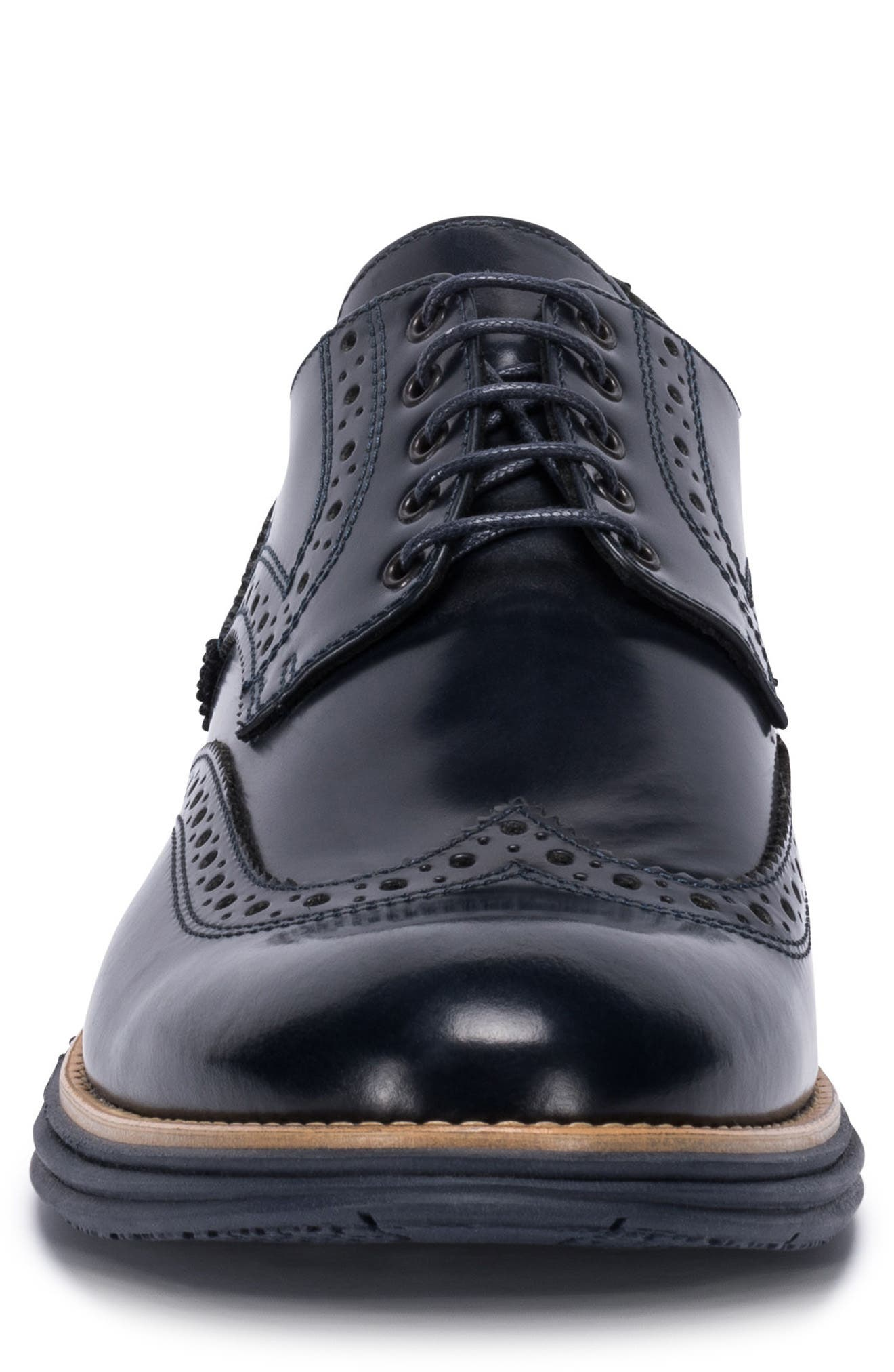 Novara Wingtip Derby,                             Alternate thumbnail 4, color,                             Navy Leather