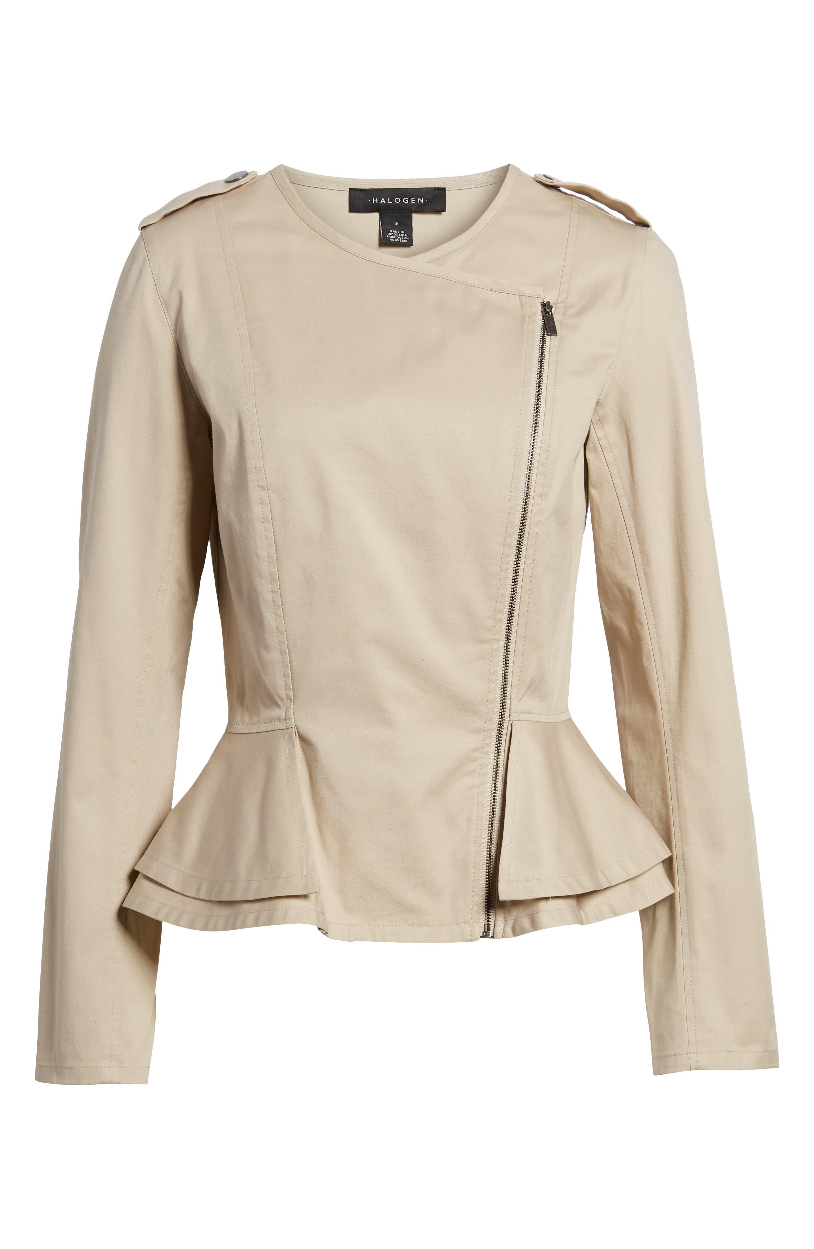 Asymmetrical Zip Peplum Jacket,                             Alternate thumbnail 6, color,                             Tan Oxford