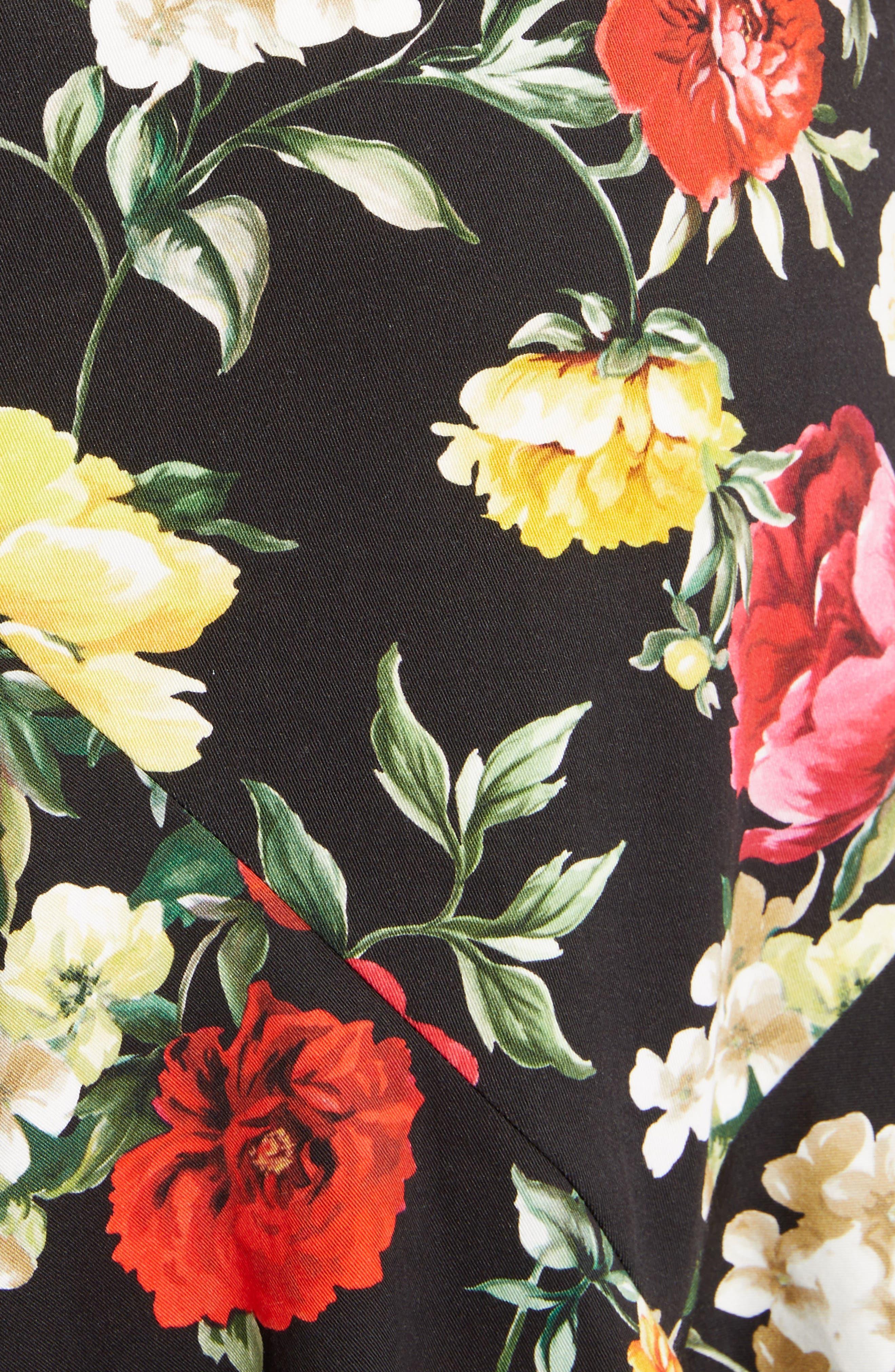Floral Print Flare Hem Dress,                             Alternate thumbnail 5, color,                             Black
