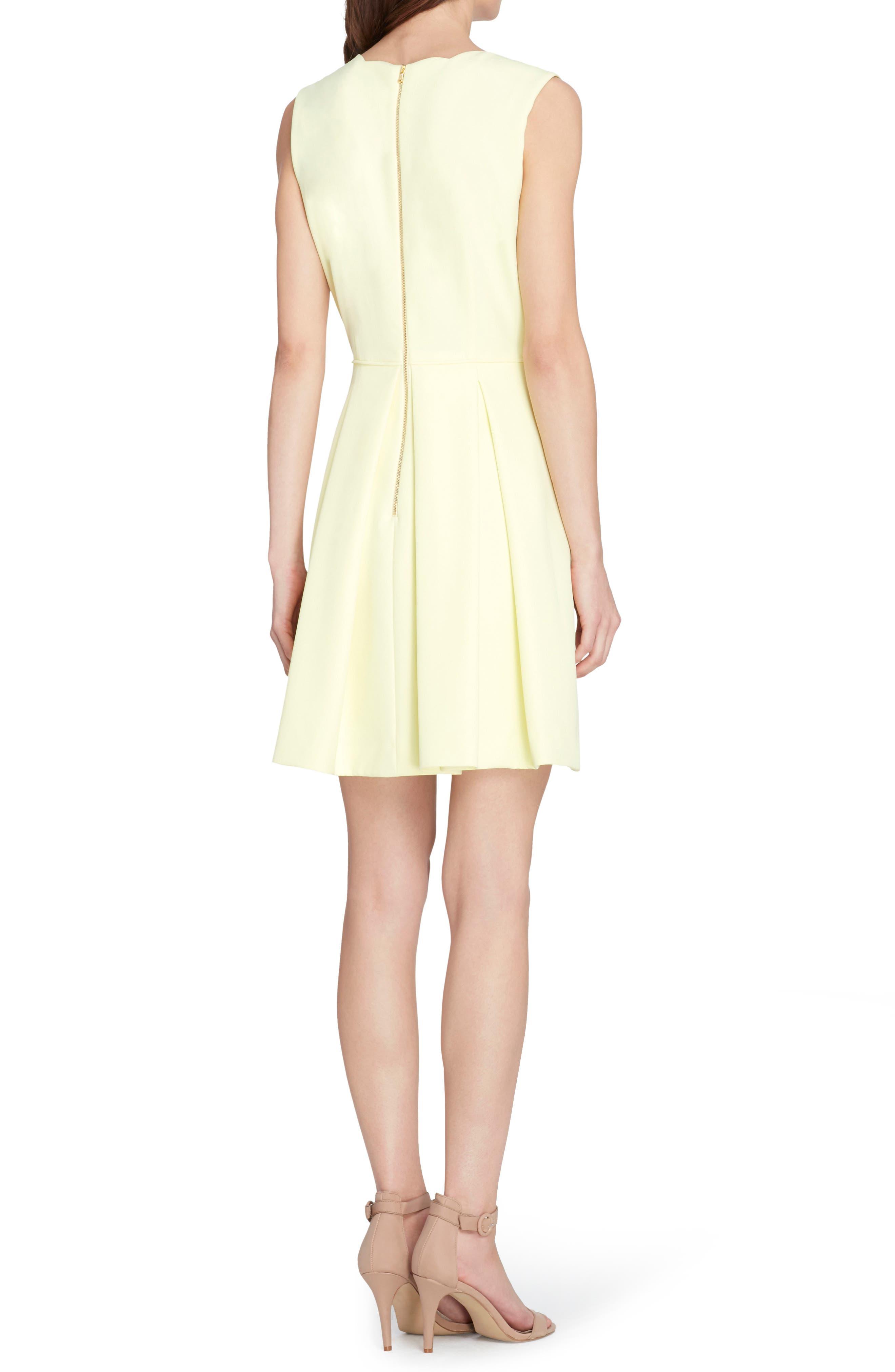 Scallop Fit & Flare Dress,                             Alternate thumbnail 2, color,                             Lemon