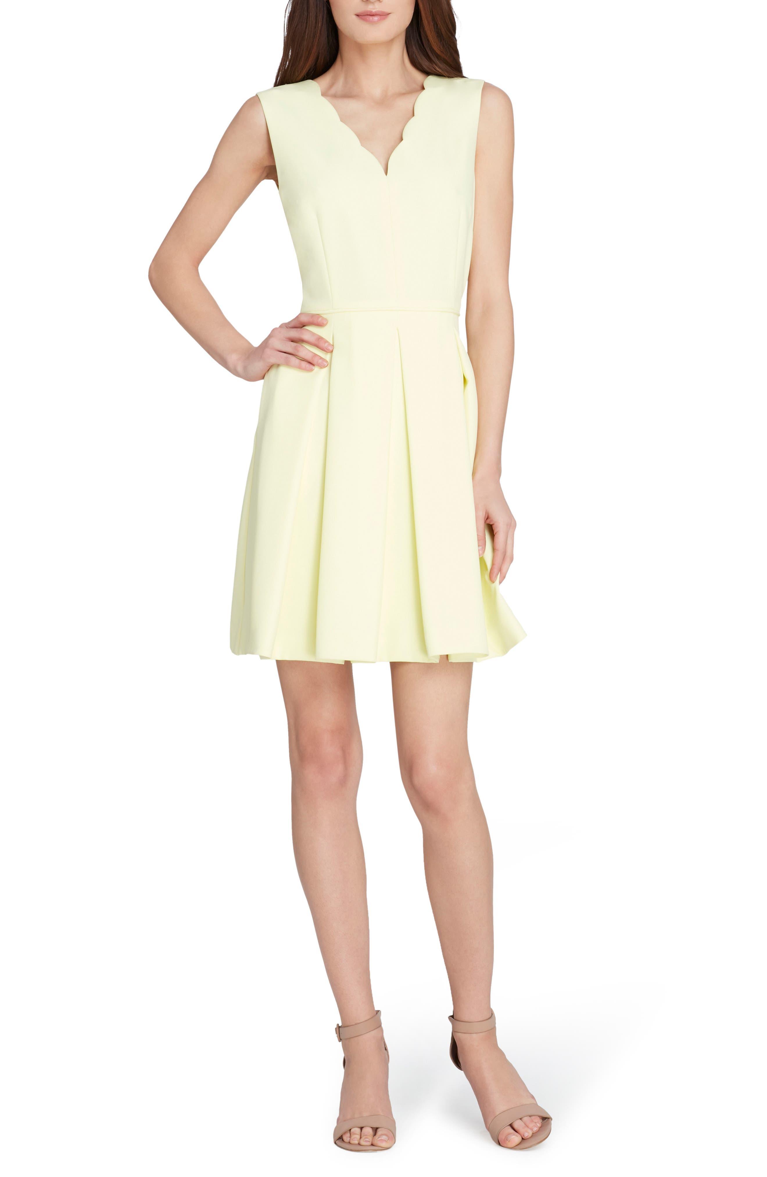 Scallop Fit & Flare Dress,                             Main thumbnail 1, color,                             Lemon
