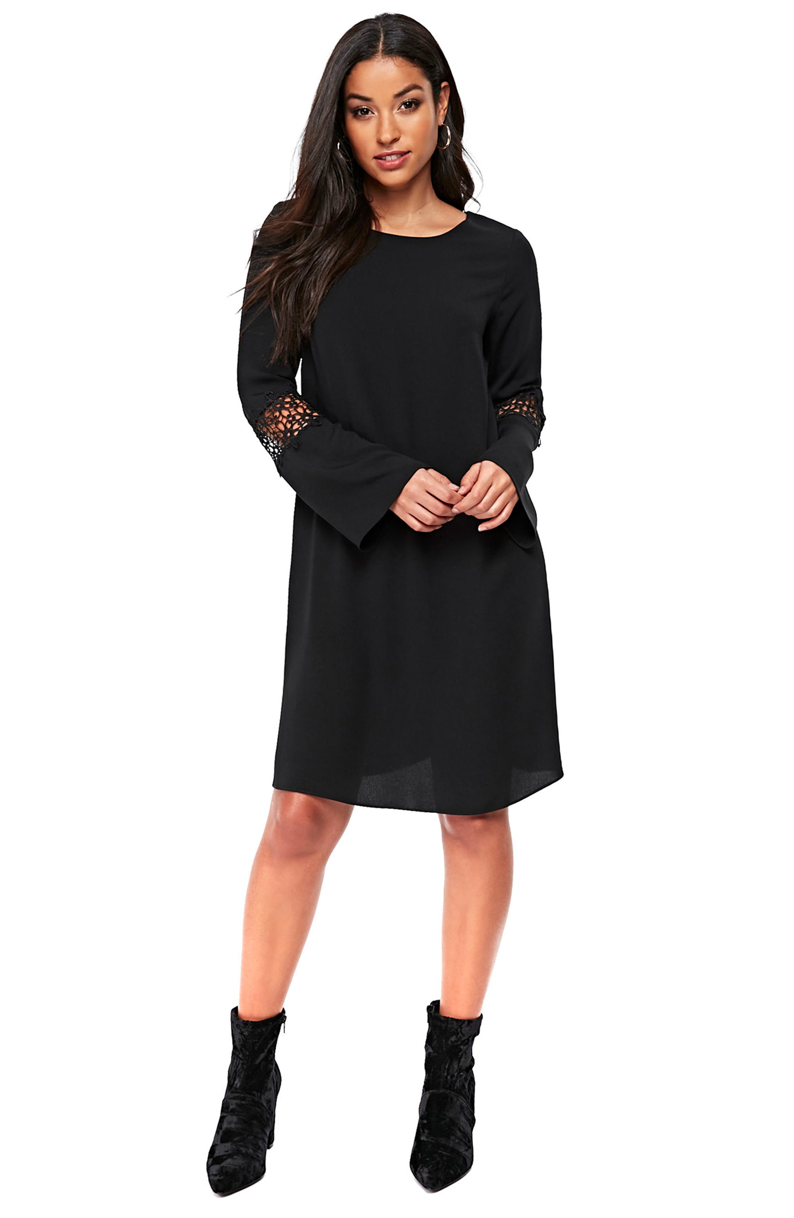 Crochet Inset Shift Dress,                             Alternate thumbnail 4, color,                             Black