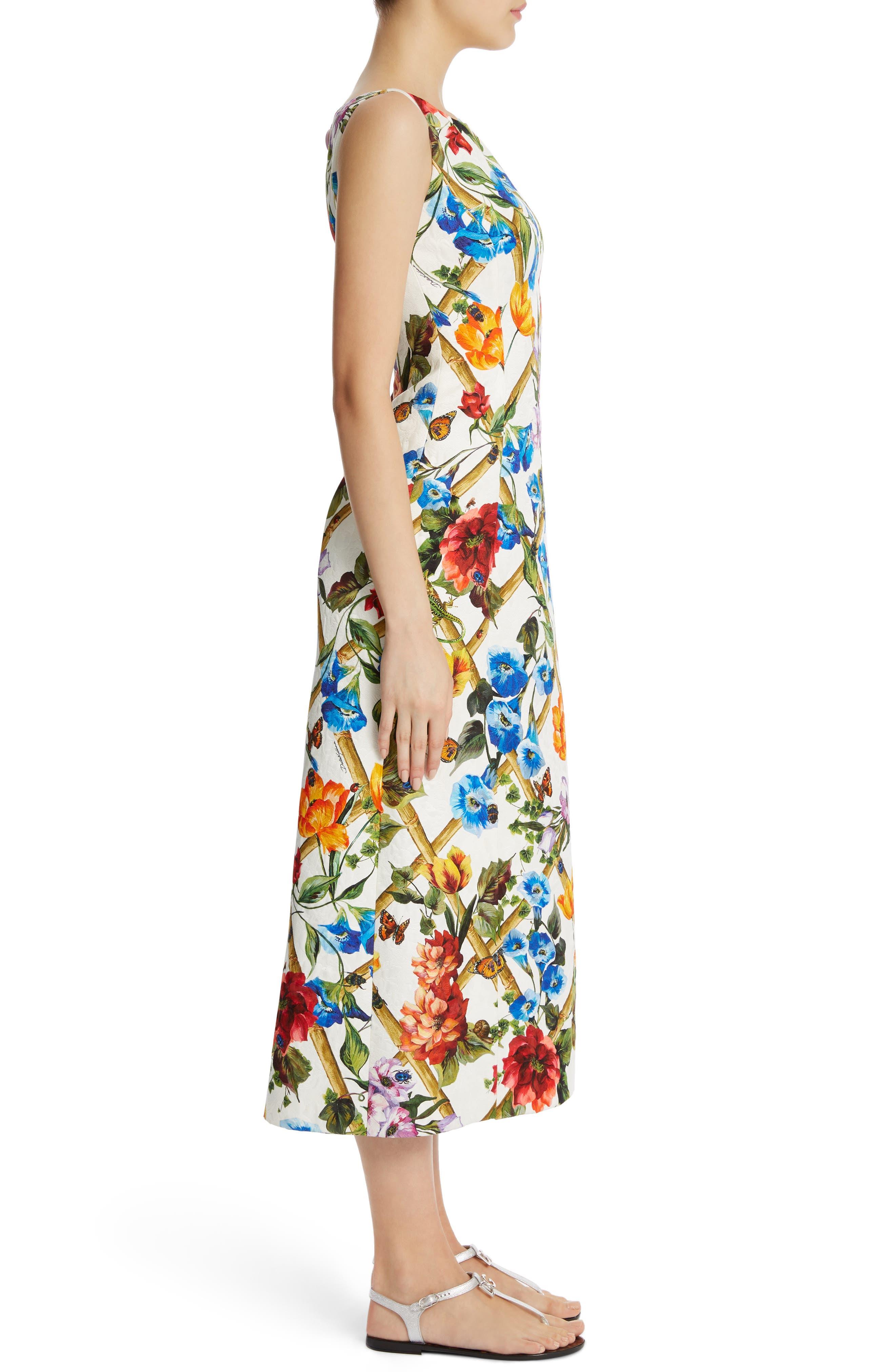Slit Floral Brocade Dress,                             Alternate thumbnail 3, color,                             White