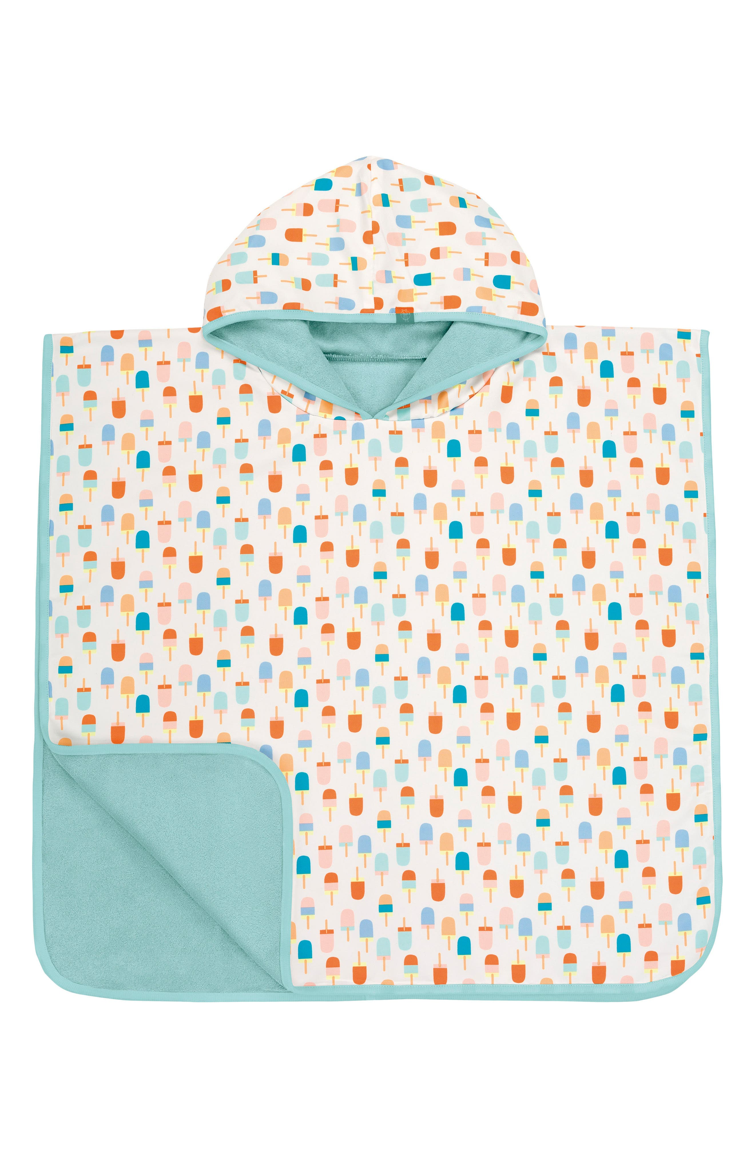 Ice Cream Hooded Beach Poncho,                         Main,                         color, White Orange Teal