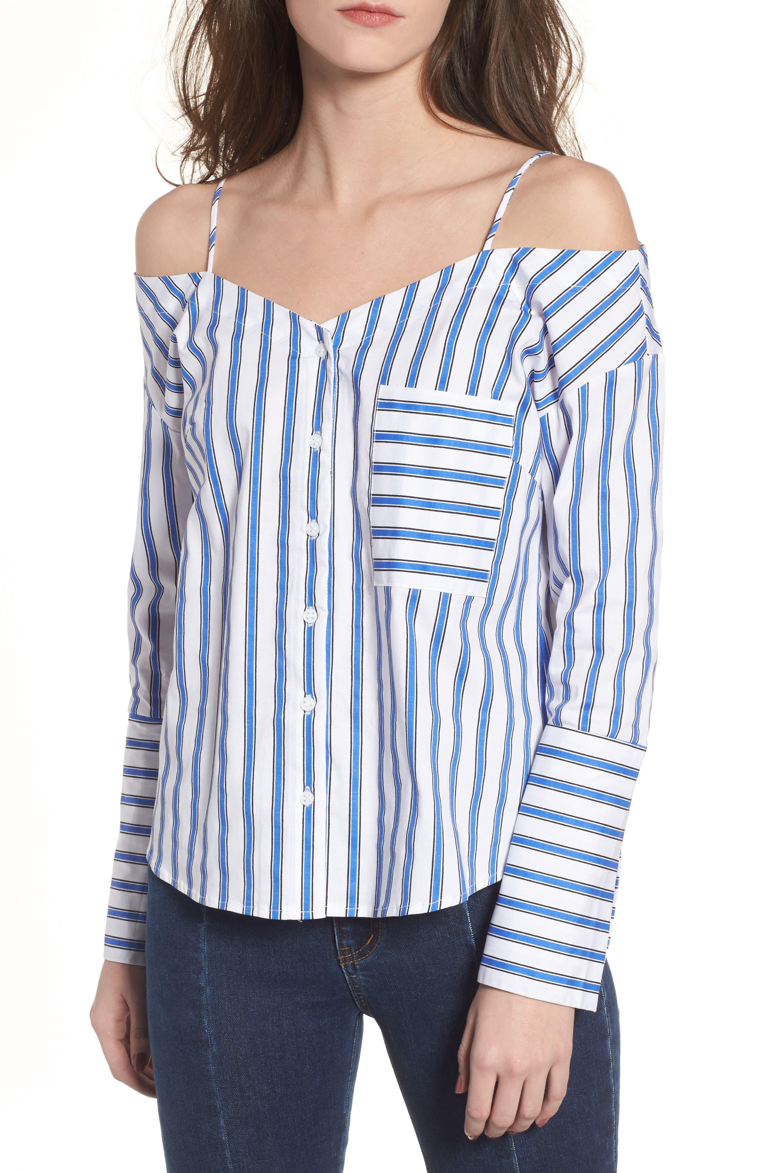 CODEXMODE Stripe Cold Shoulder Button Top