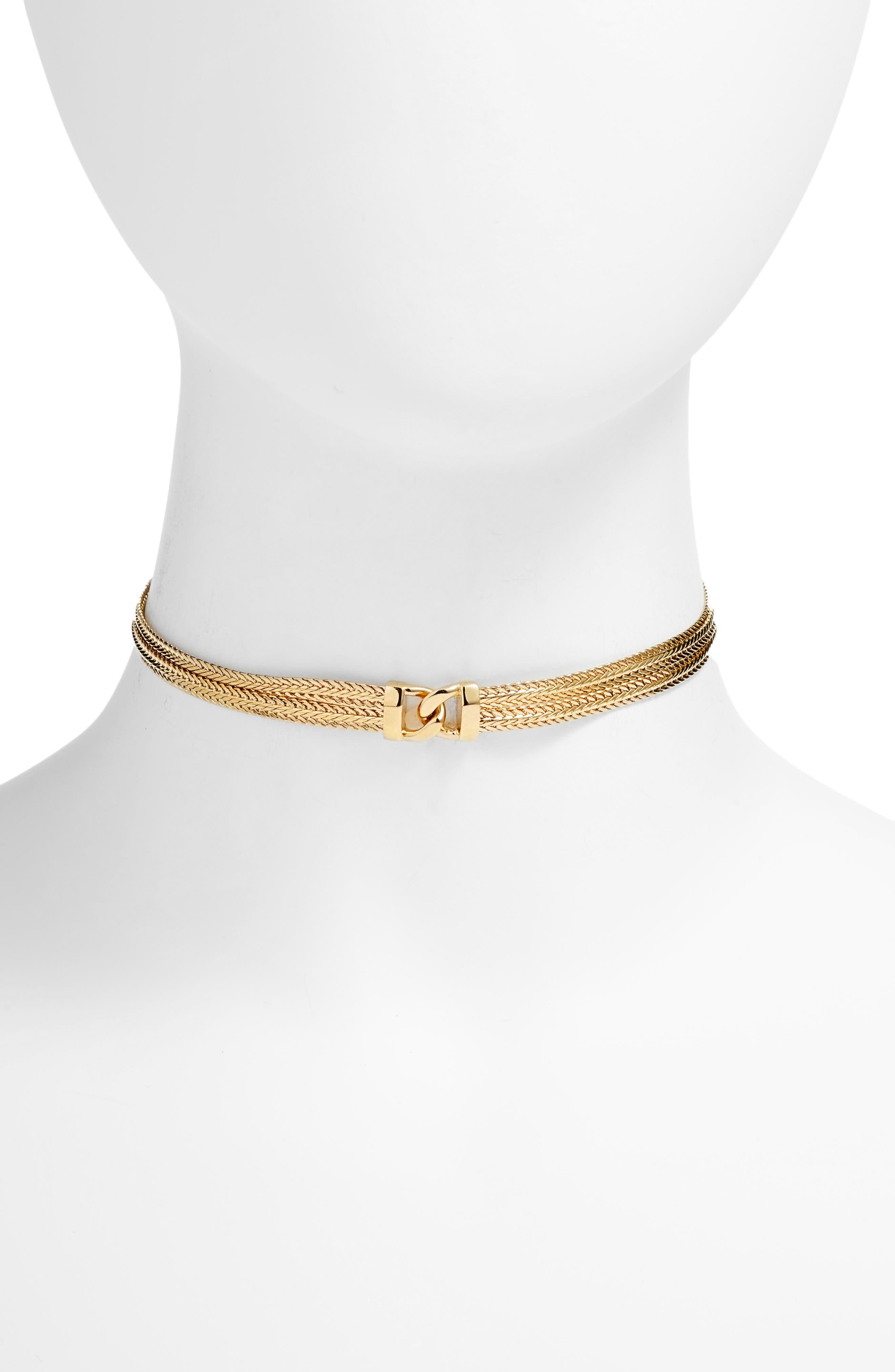 Gemma Choker Necklace,                         Main,                         color, Gold