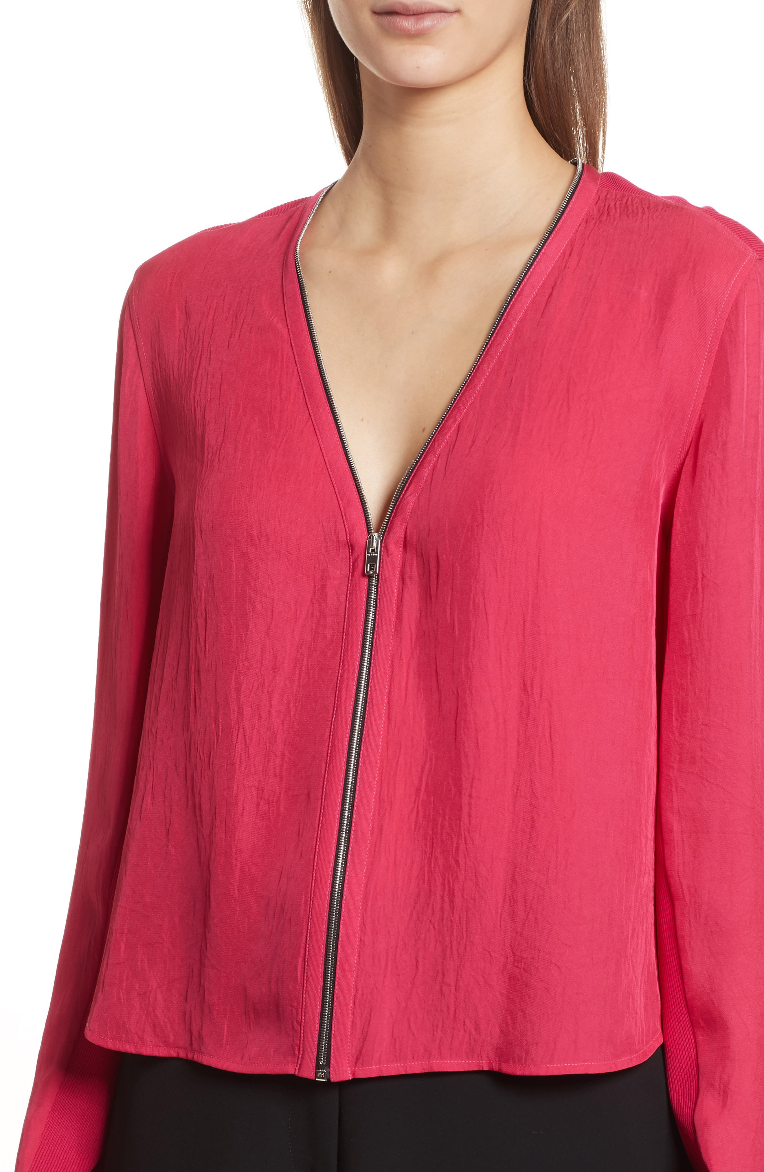 Vanessa Zip Front Blouse,                             Alternate thumbnail 4, color,                             Bright Rose
