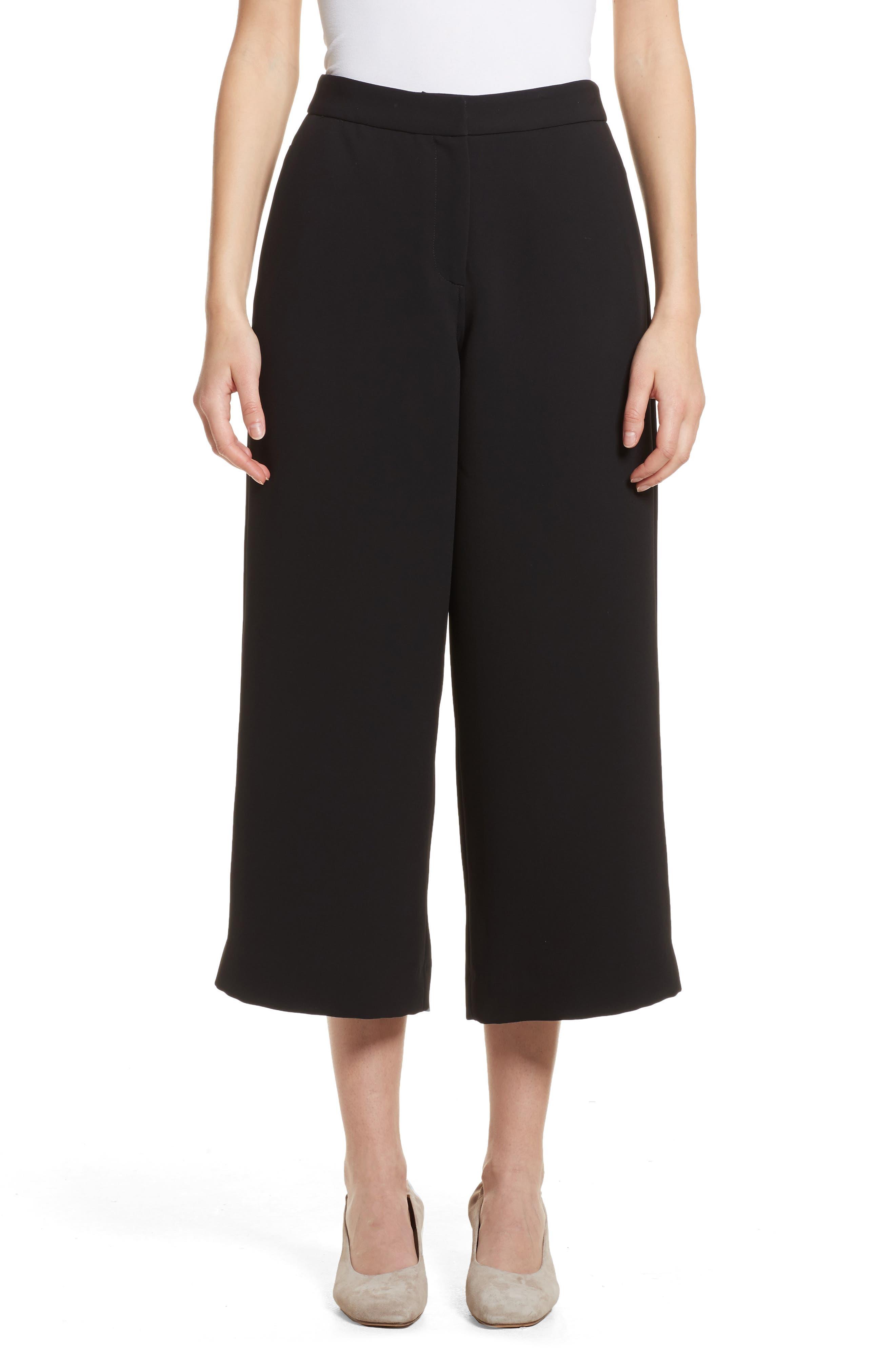 Marci Wide Leg Crop Pants,                             Main thumbnail 1, color,                             Black