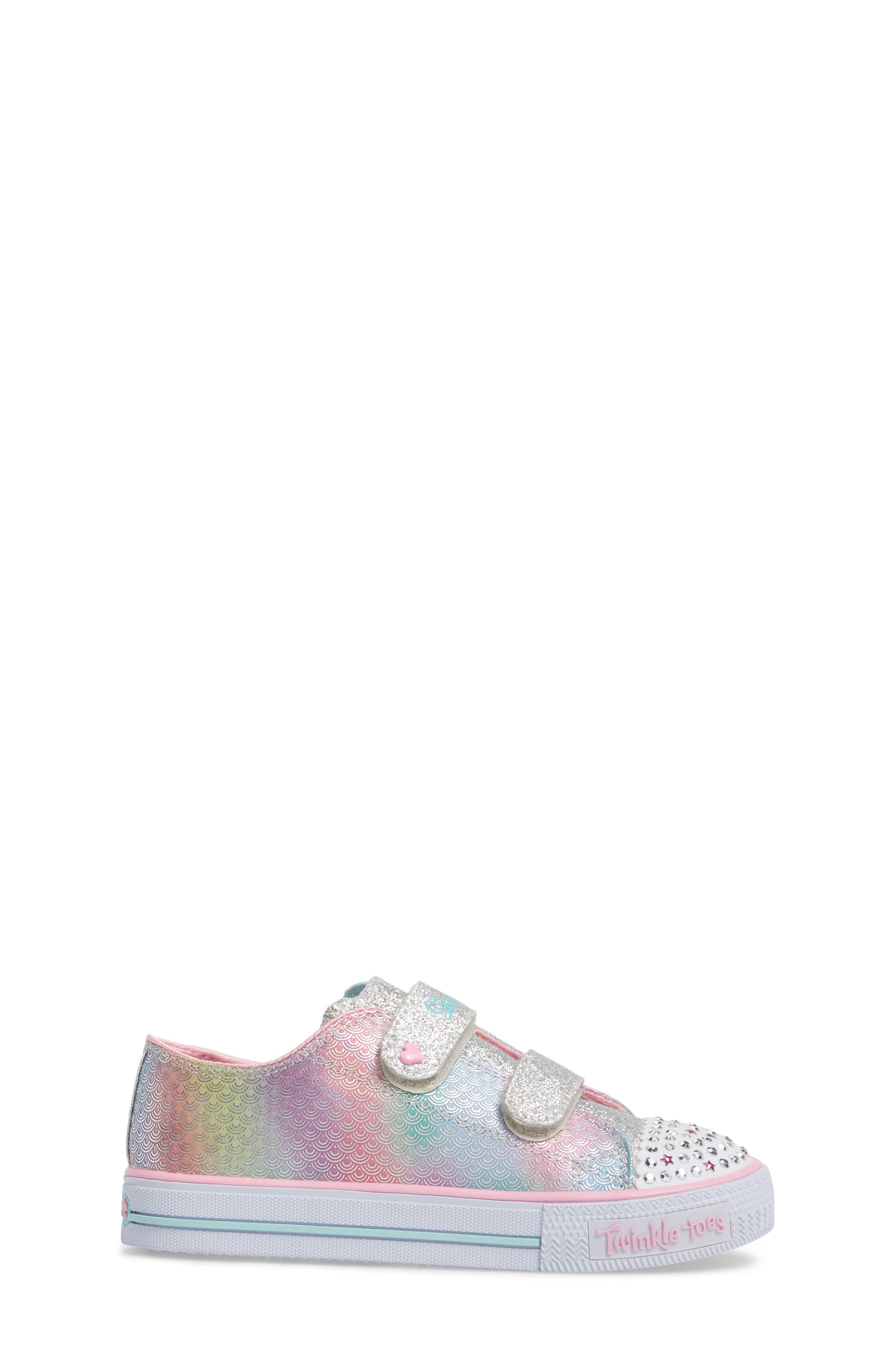 Shuffles - Itsy Bitsy Light-Up Sneaker,                             Alternate thumbnail 3, color,                             Silver/ Multi