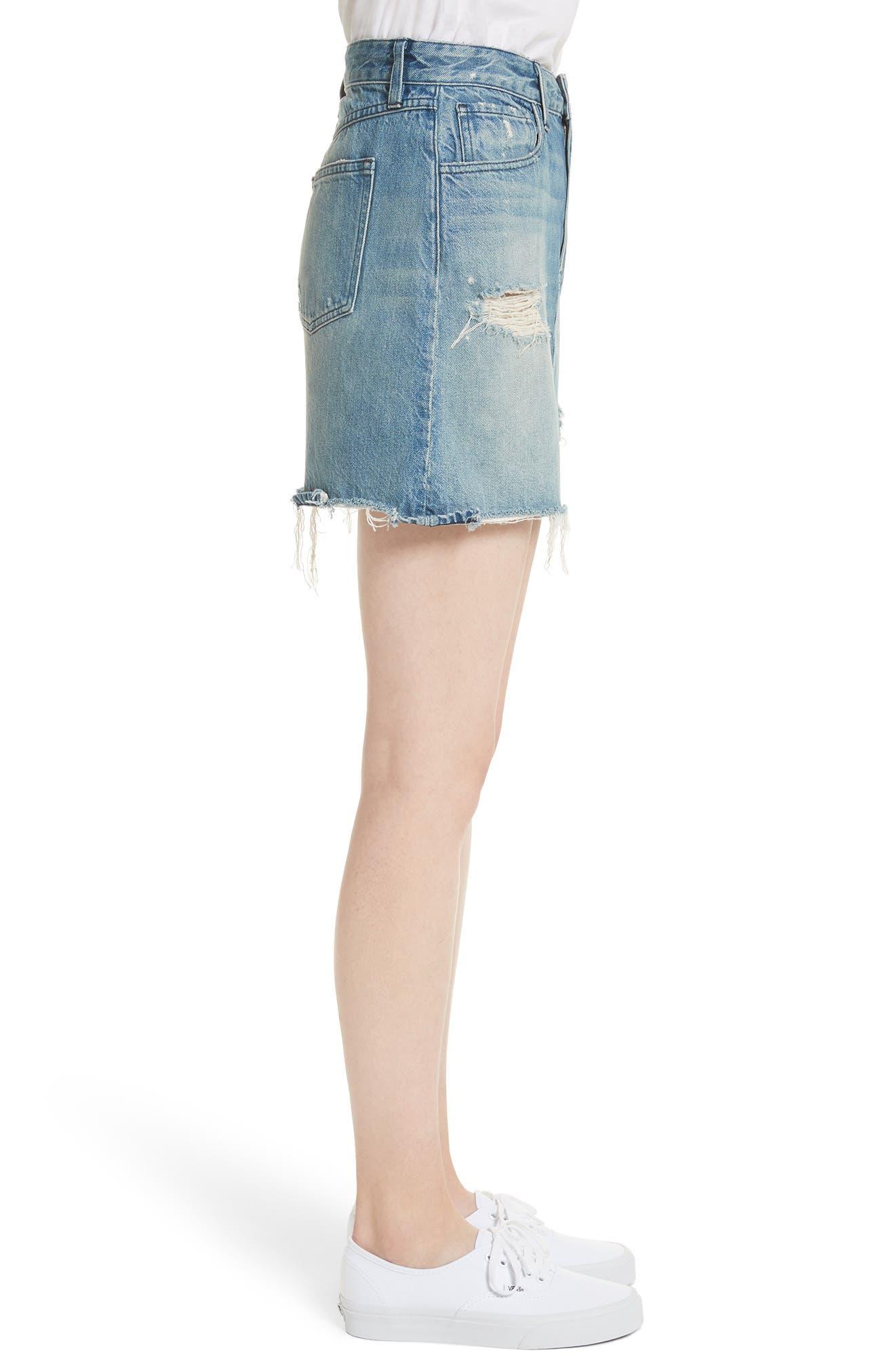 Celine Distressed Denim Skirt,                             Alternate thumbnail 3, color,                             Laz