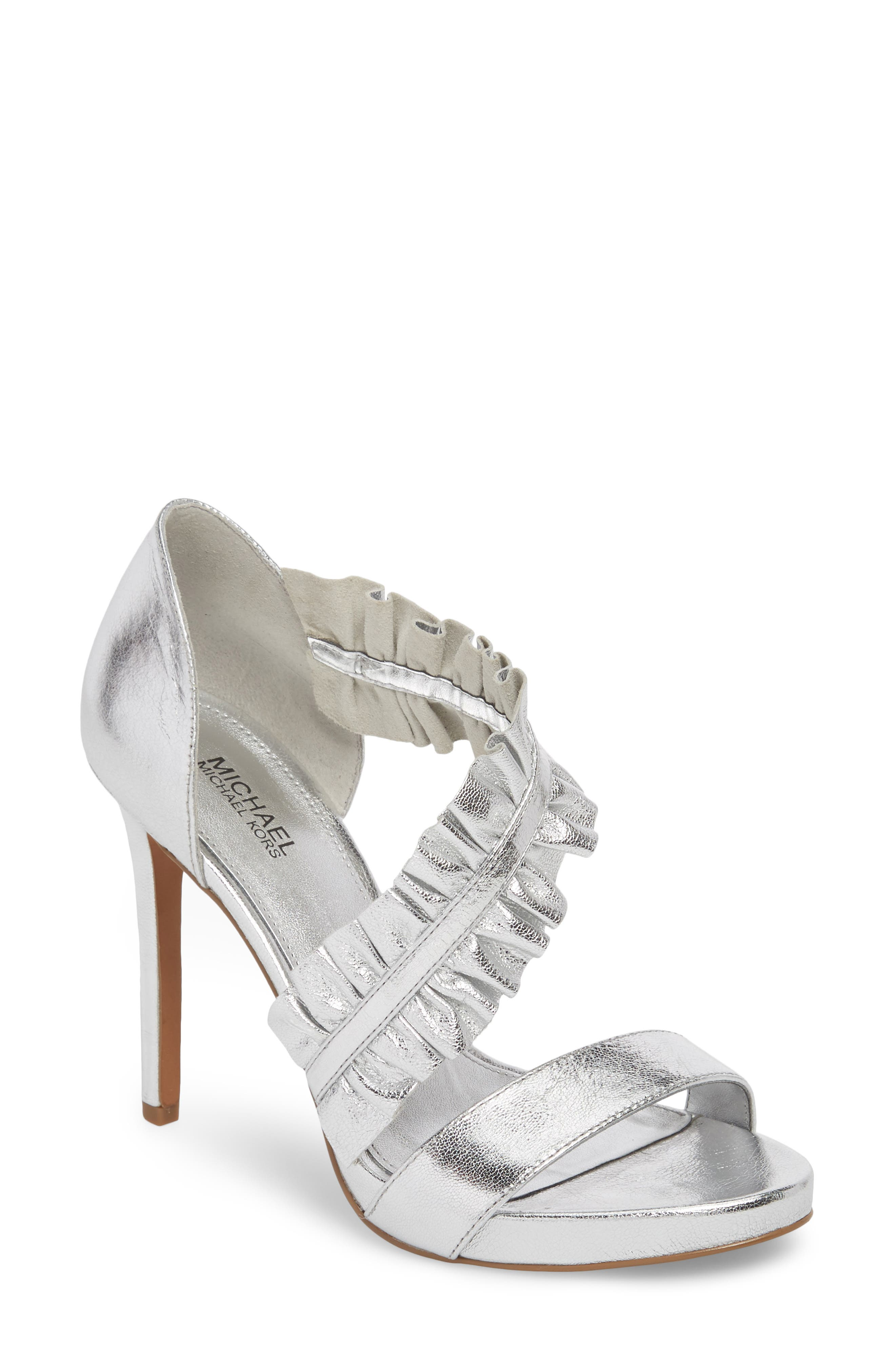 Bella Ruffle Sandal,                             Main thumbnail 1, color,                             Silver Nappa Leather