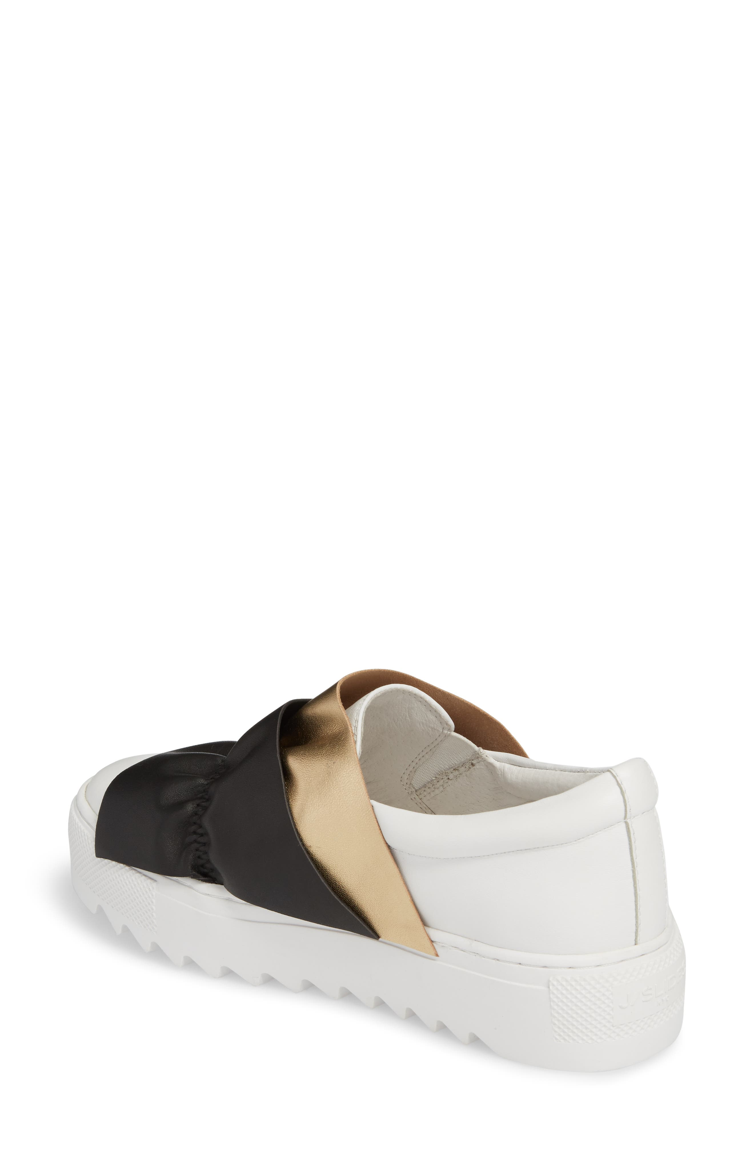 Sadie Ruffle Platform Sneaker,                             Alternate thumbnail 2, color,                             White Leather