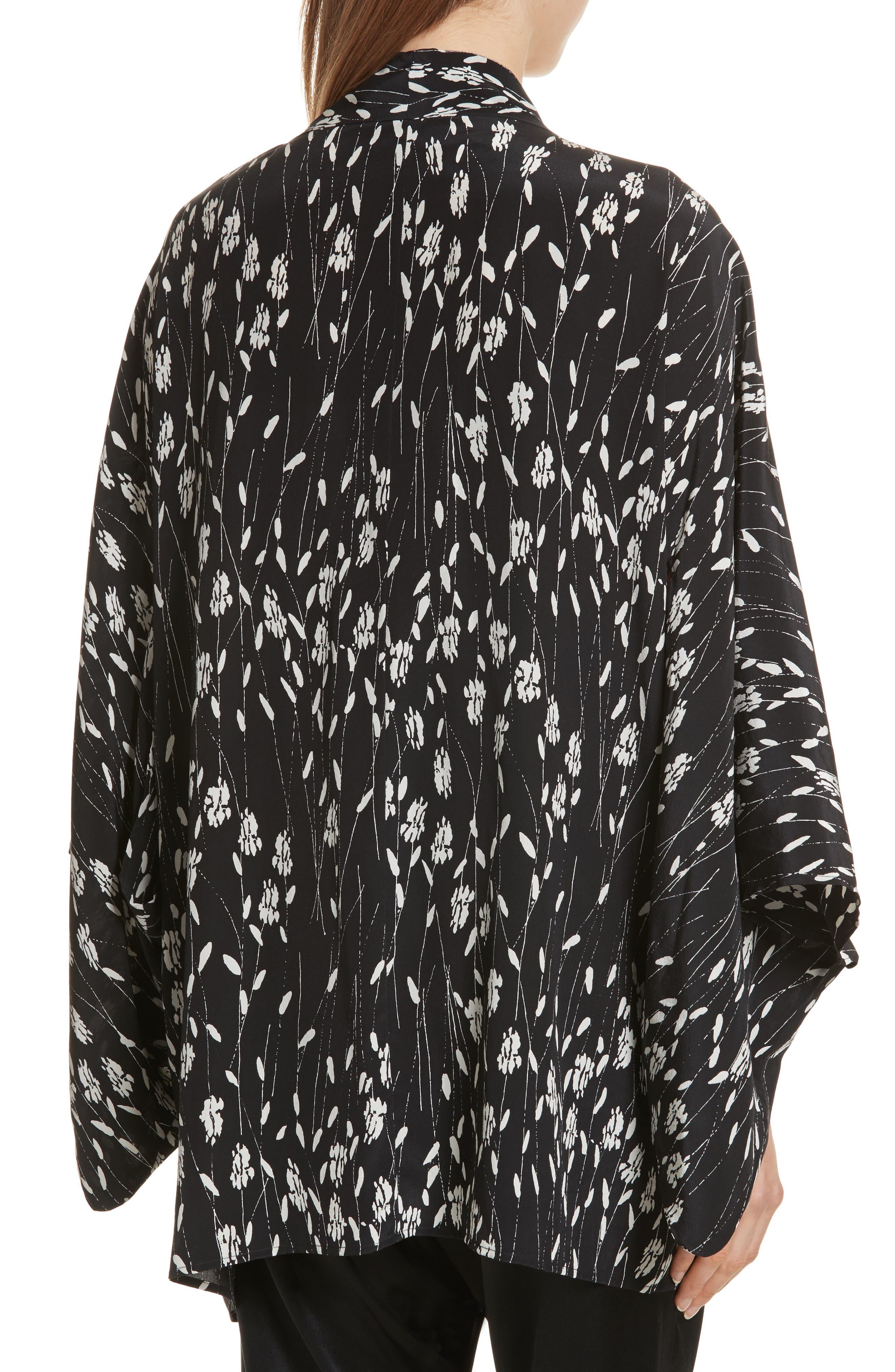 Kima Silk Cover-Up Kimono,                             Alternate thumbnail 2, color,                             Black