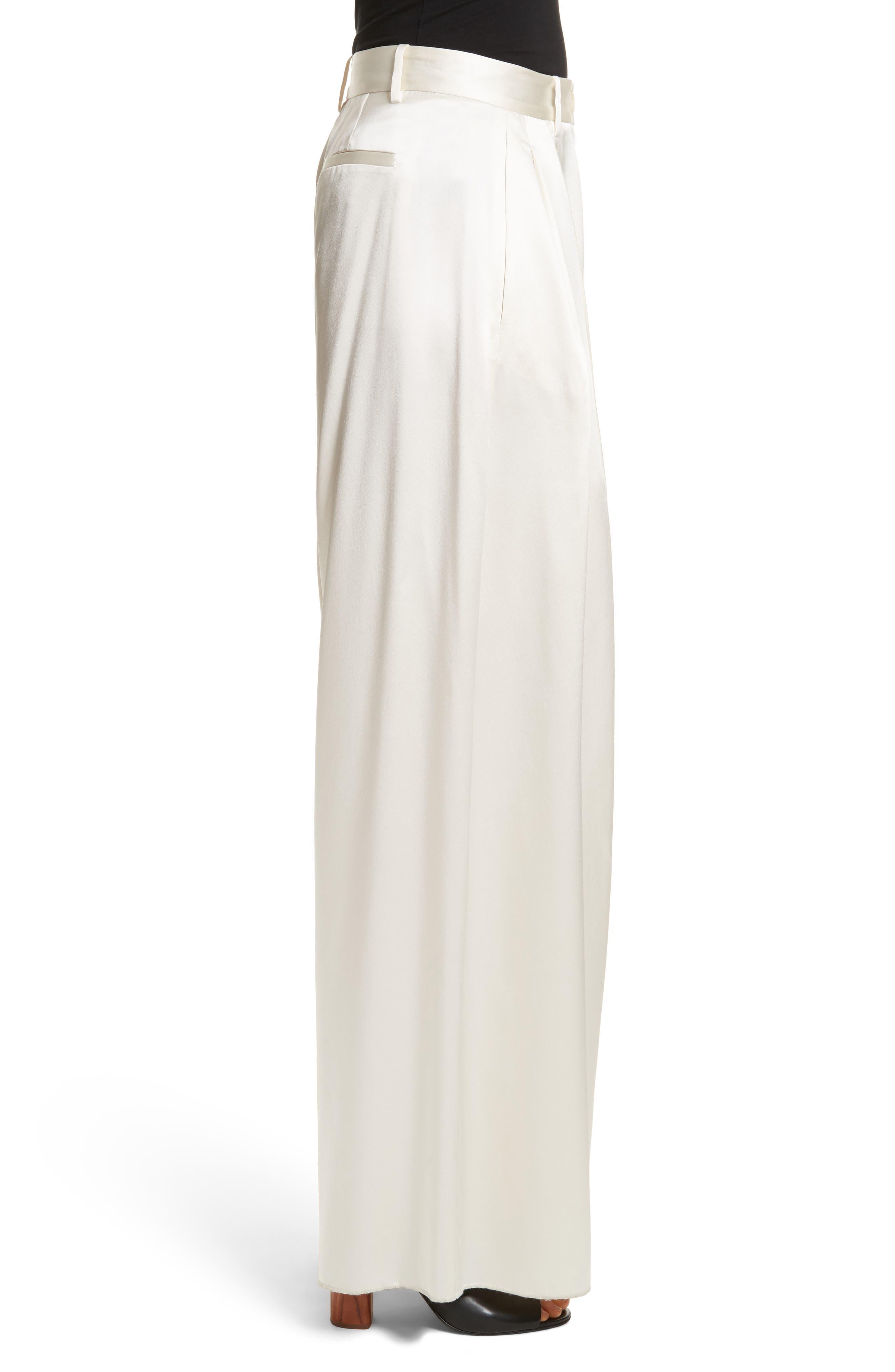 Seville Wide Leg Silk Pants,                             Alternate thumbnail 4, color,                             Ivory