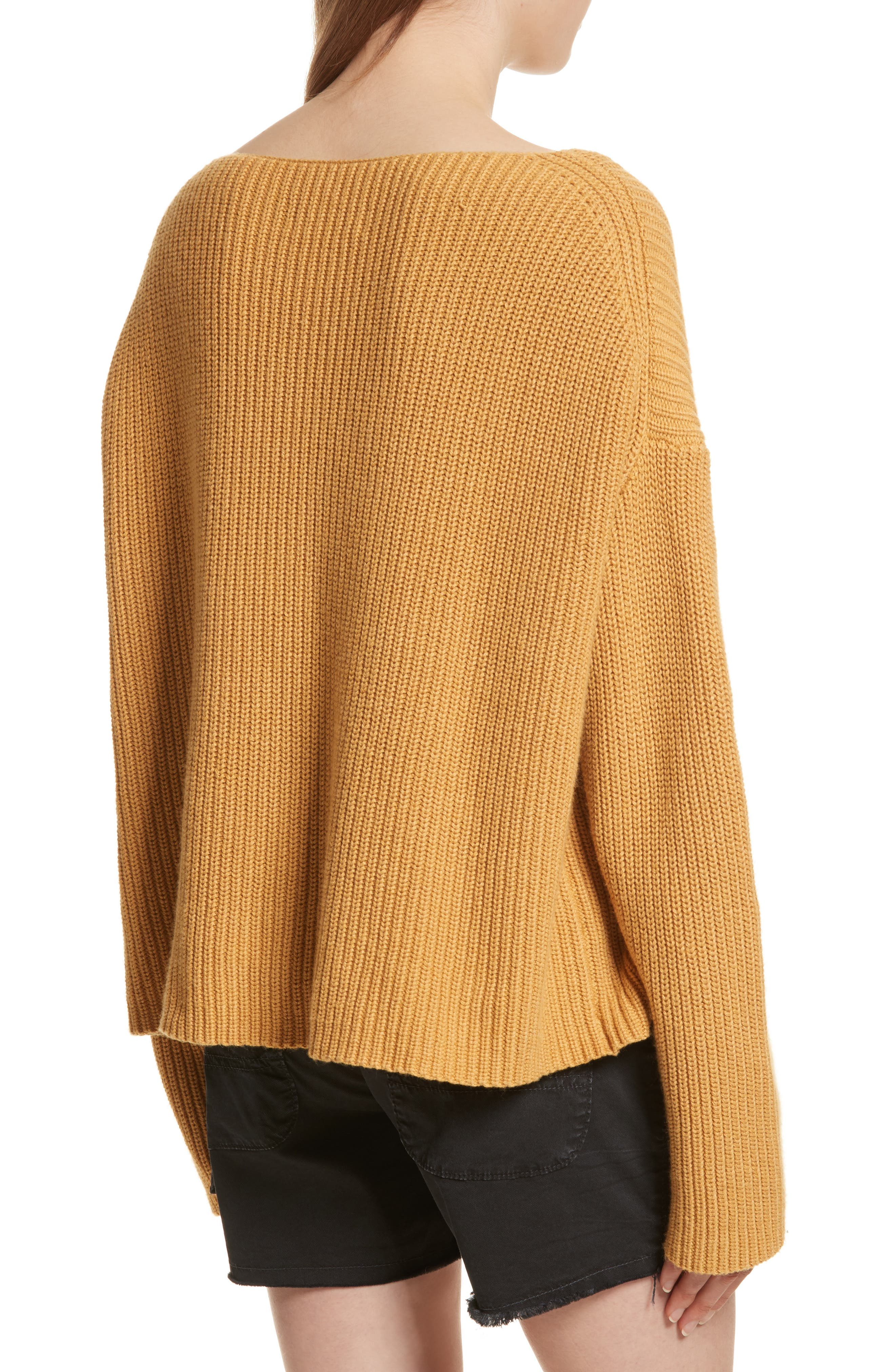 Martindale Ribbed Cotton, Cashmere & Silk Sweater,                             Alternate thumbnail 2, color,                             Mustard