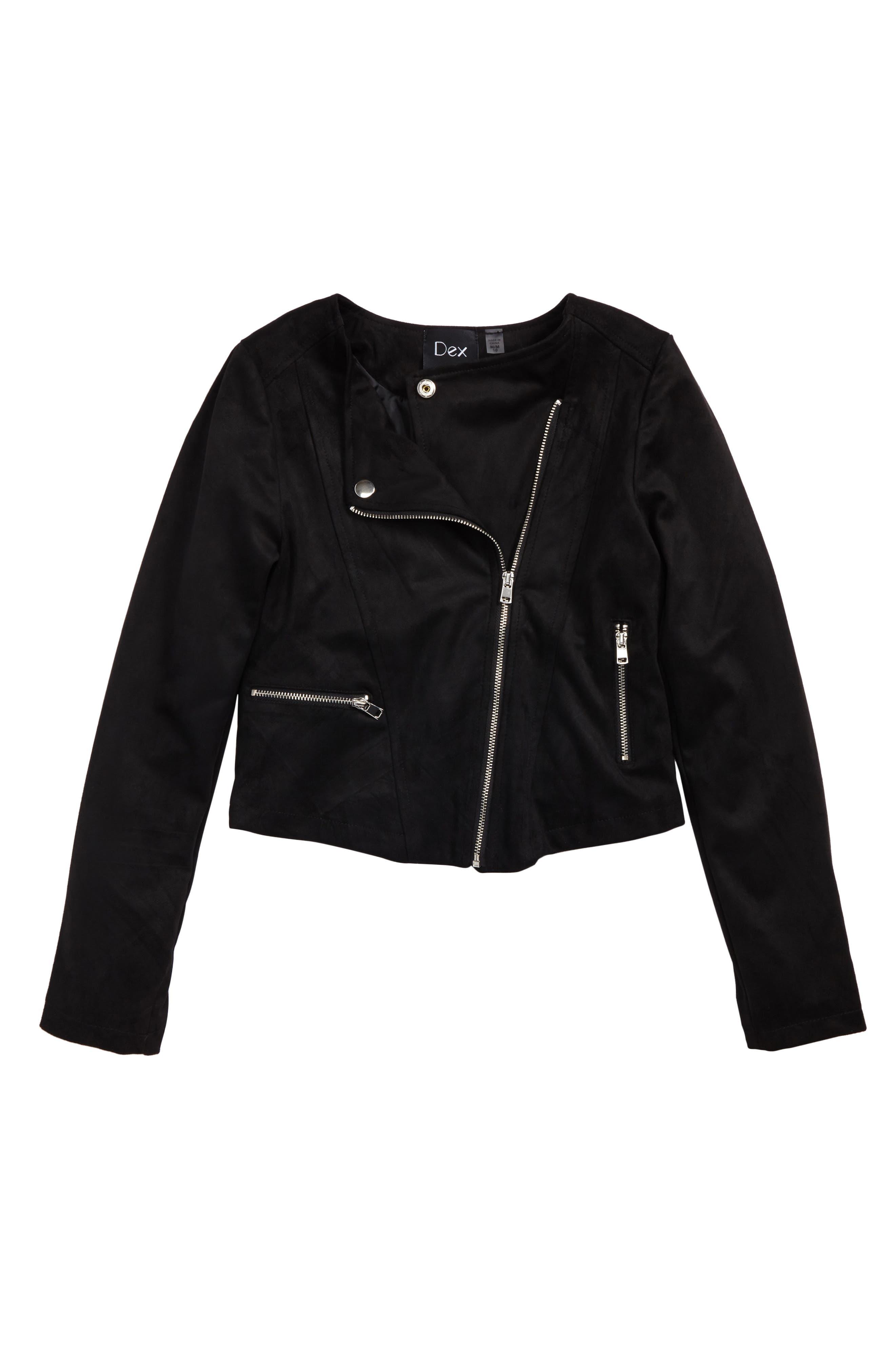 Main Image - DEX Moto Faux Suede Jacket (Big Girls)