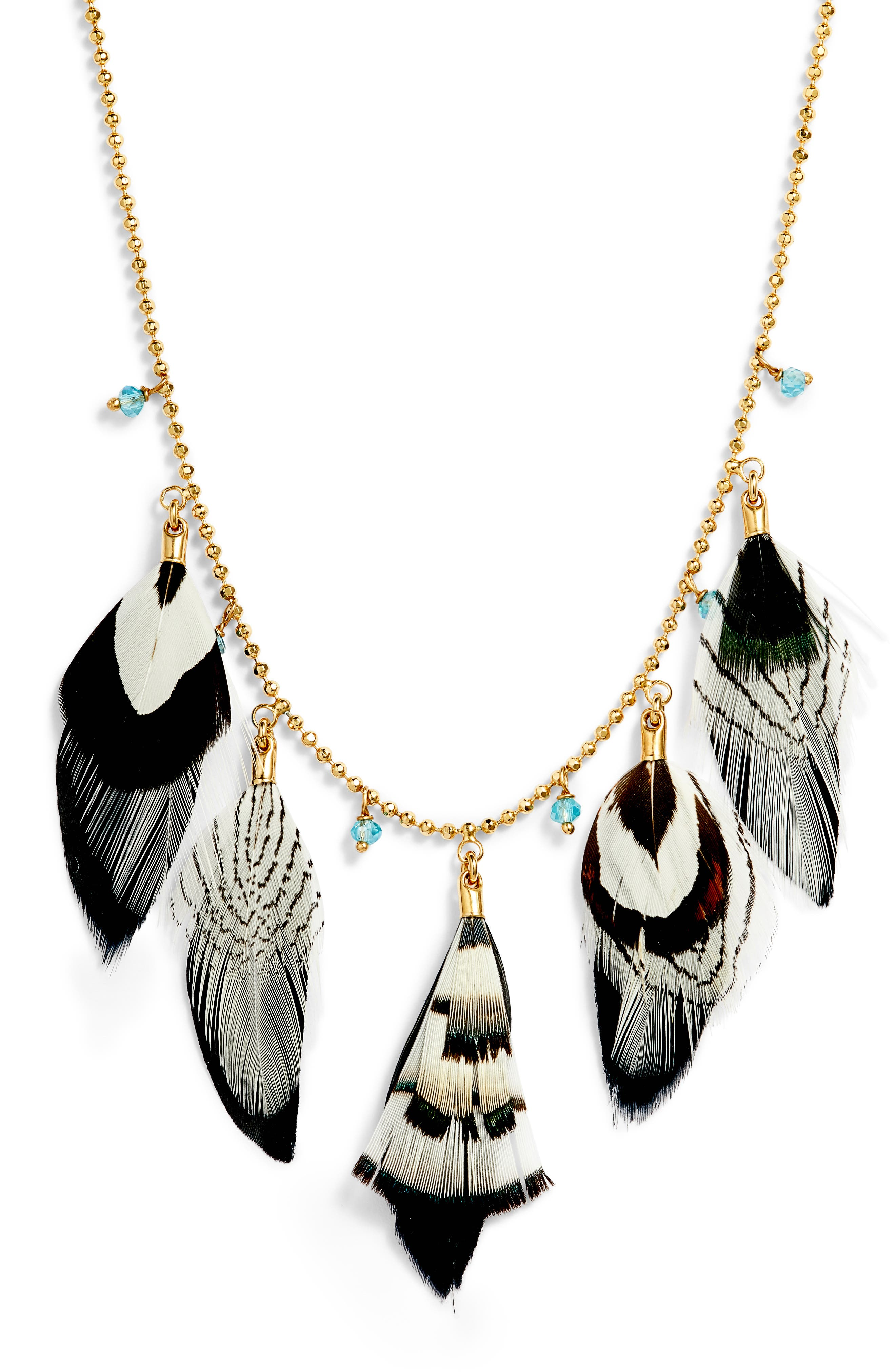 Feather Collar Necklace,                             Alternate thumbnail 2, color,                             Black