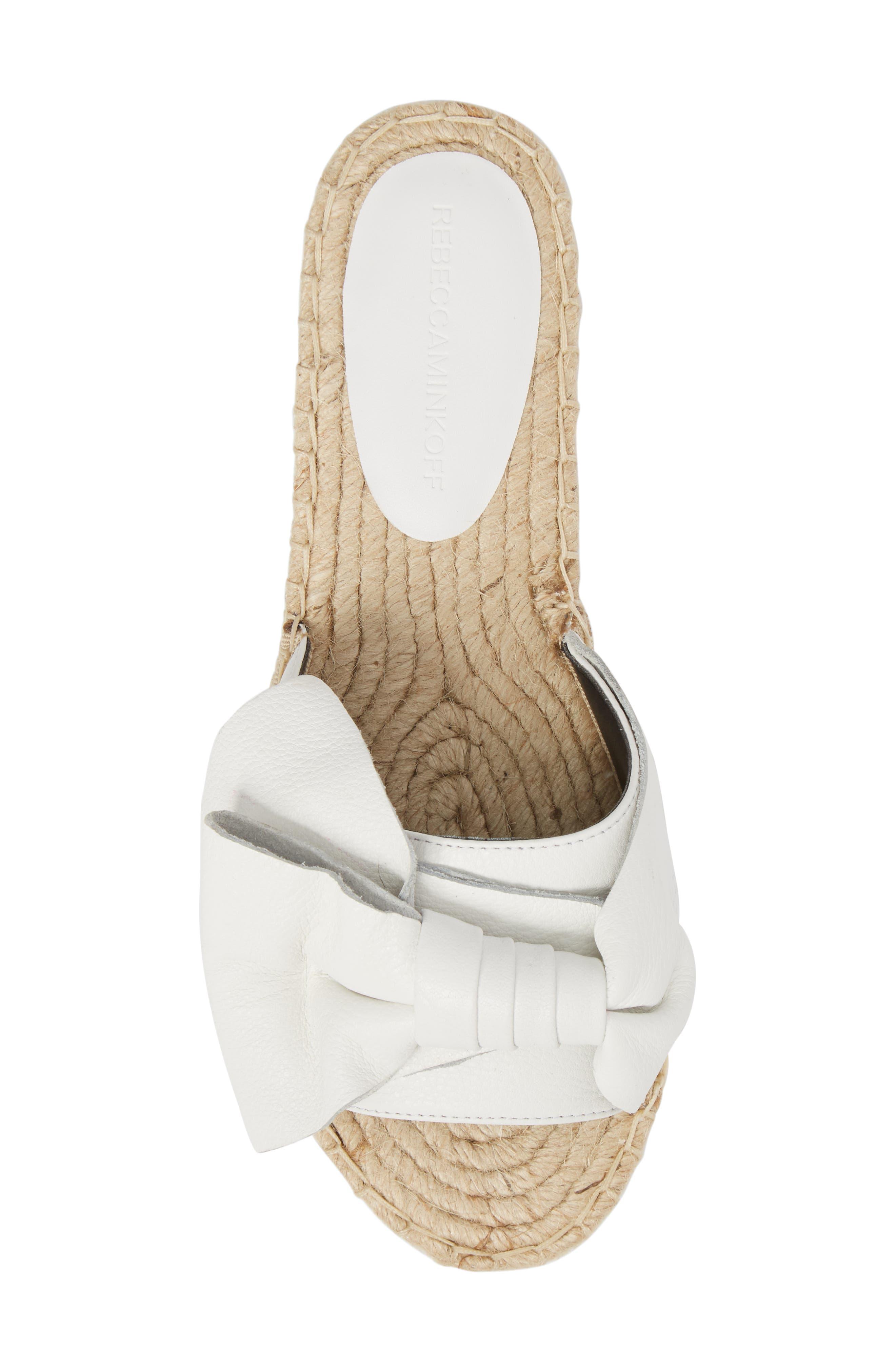 Giana Bow Slide Sandal,                             Alternate thumbnail 5, color,                             Optic White Leather