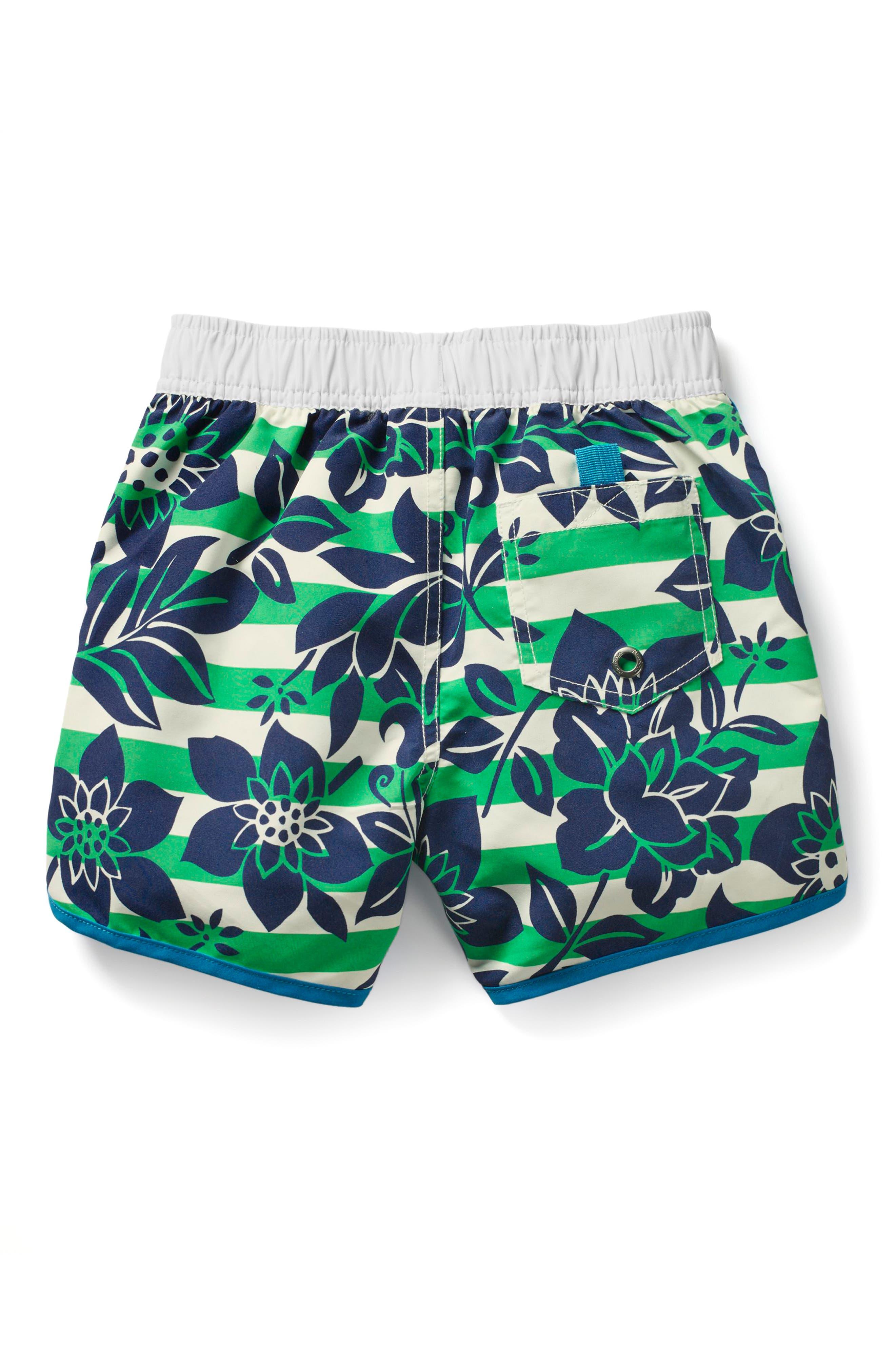 Hawaiian Print Board Shorts,                             Alternate thumbnail 2, color,                             Astro Green/ Ecru Hawaiian