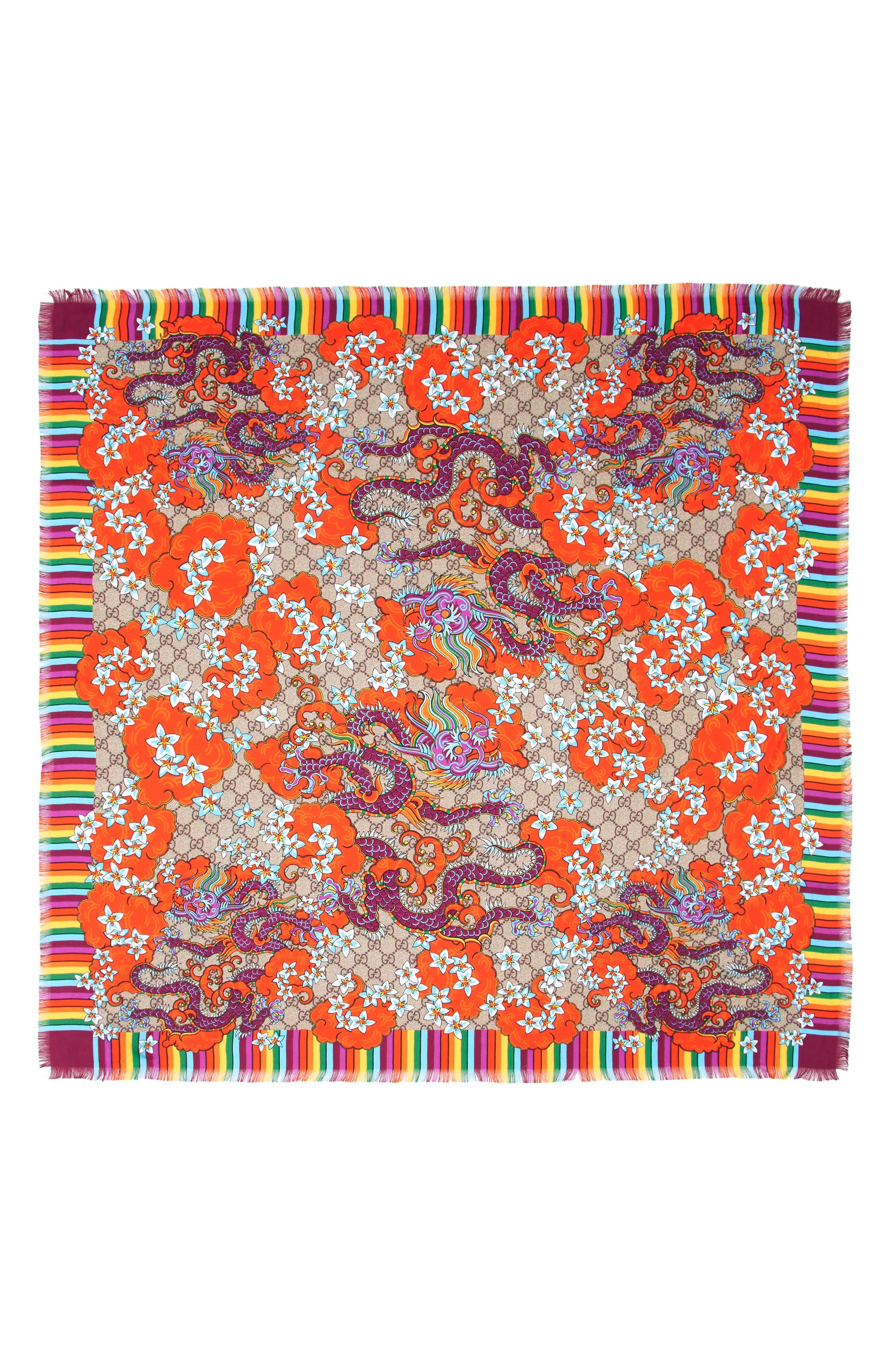 Gucci GG Dragon Rainbow Foulard Silk Scarf