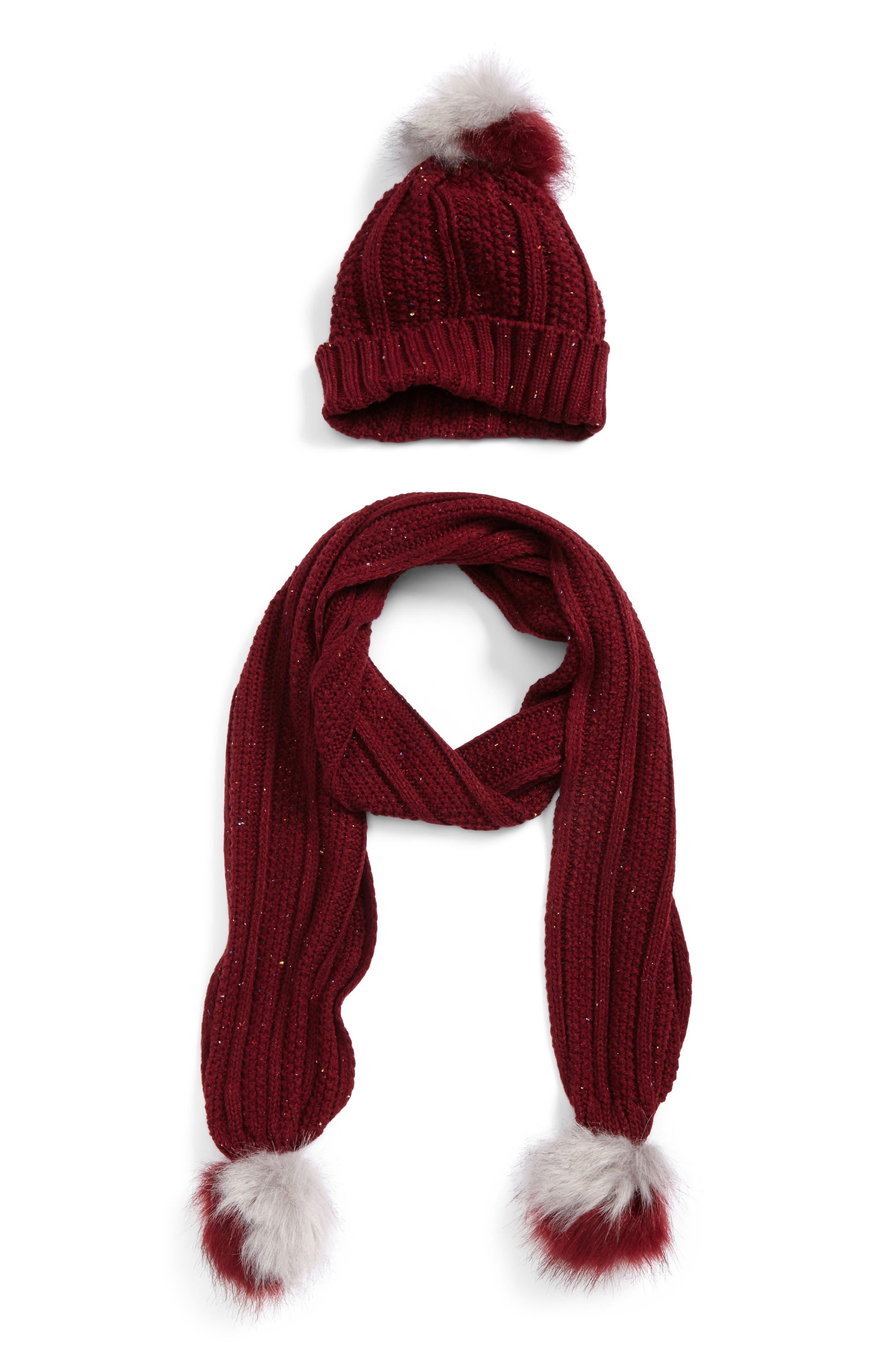 Faux Fur Pompom Knit Beanie & Scarf,                         Main,                         color, Port Multi