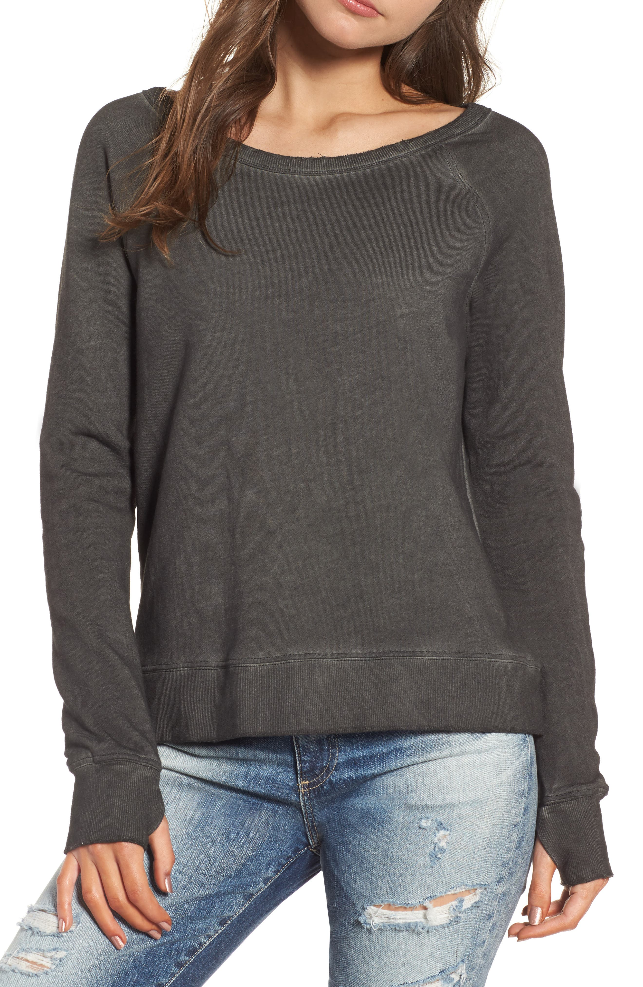 Lace-Up Sweatshirt,                             Main thumbnail 1, color,                             Oil Wash Black