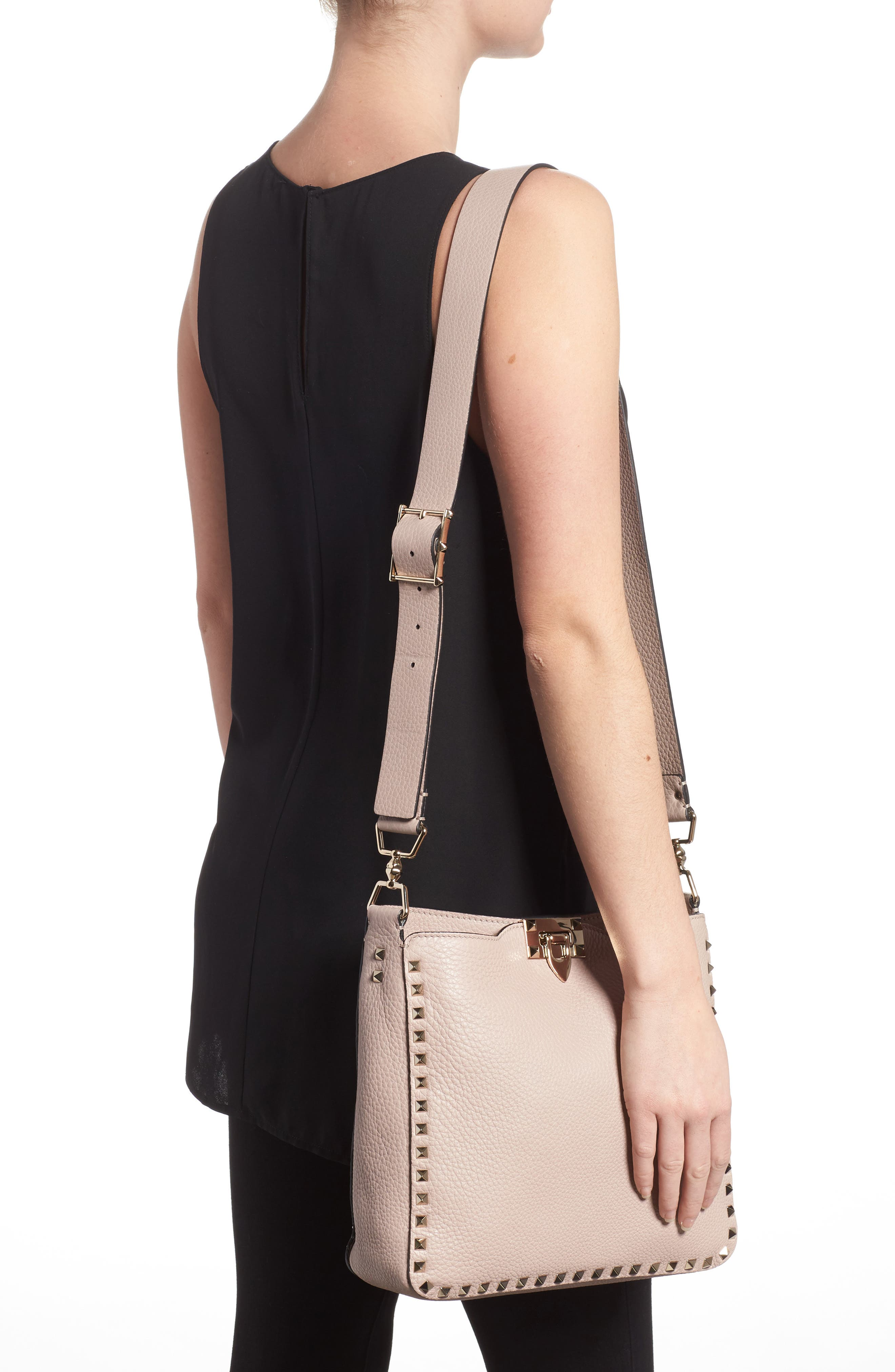 Small Rockstud Leather Hobo,                             Alternate thumbnail 2, color,                             Poudre