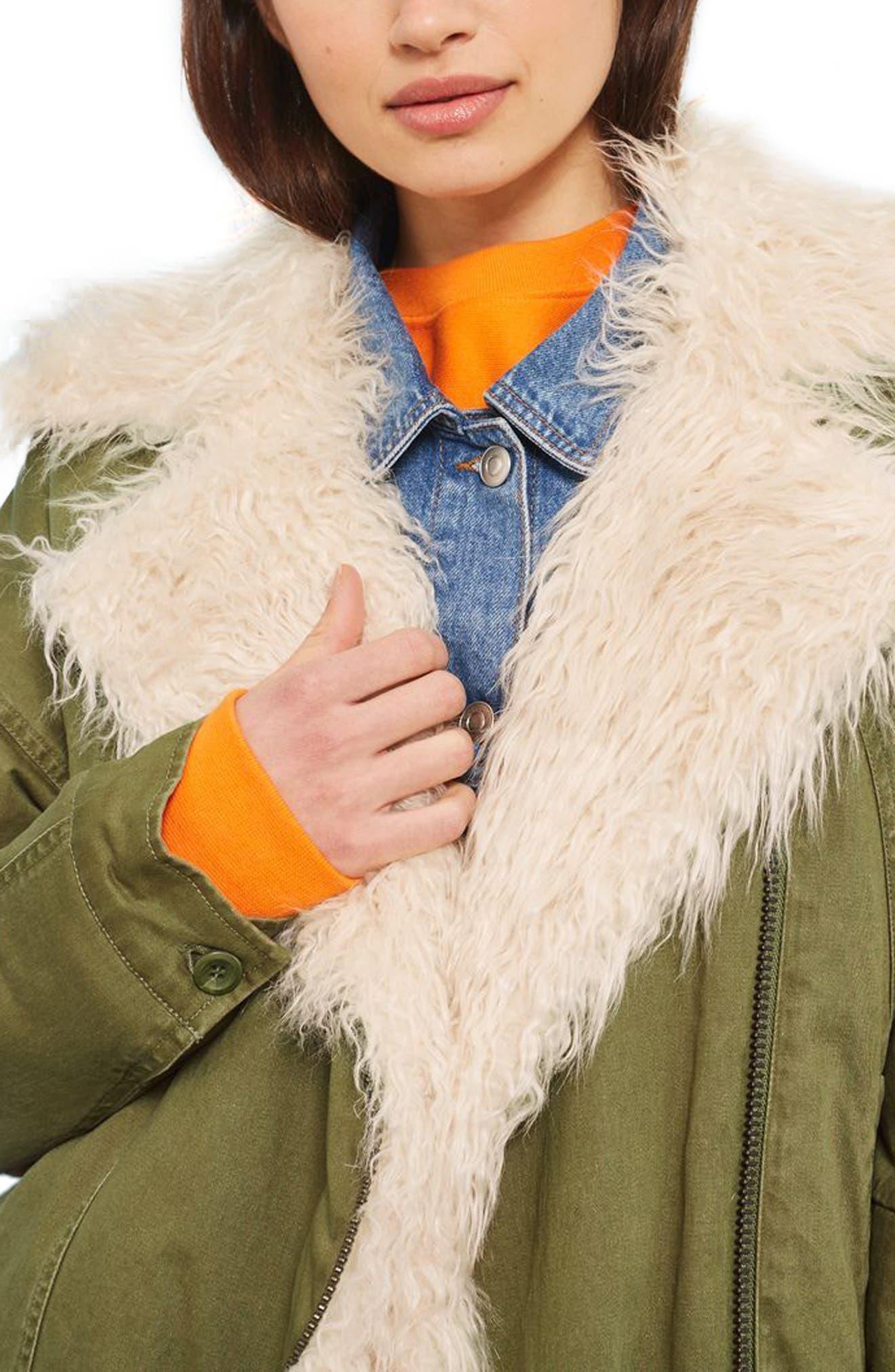 Alternate Image 1 Selected - Topshop Jake Faux Fur Lined Jacket