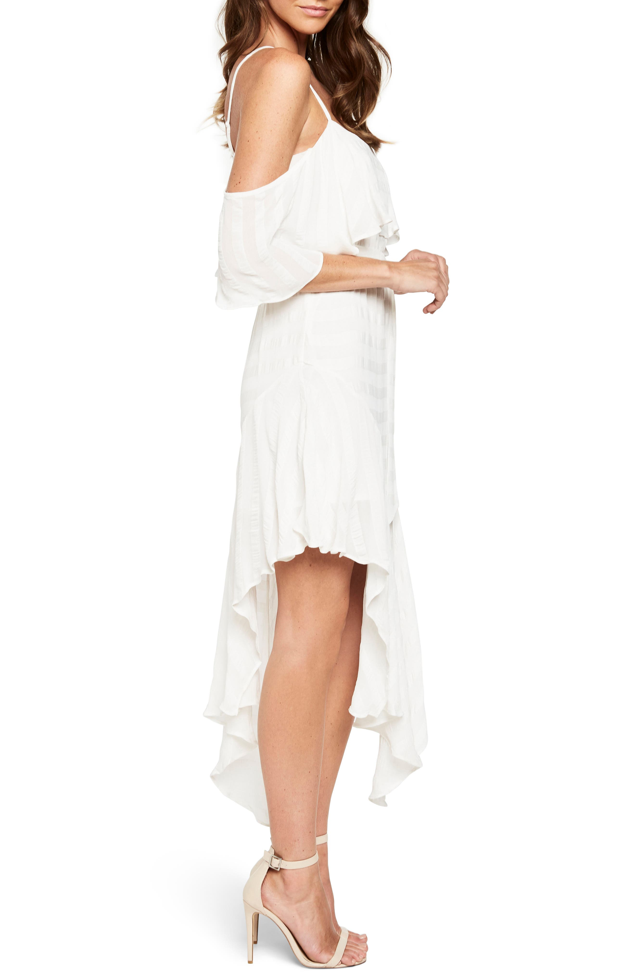 Elle Frill Cold Shoulder Dress,                             Alternate thumbnail 3, color,                             Ivory