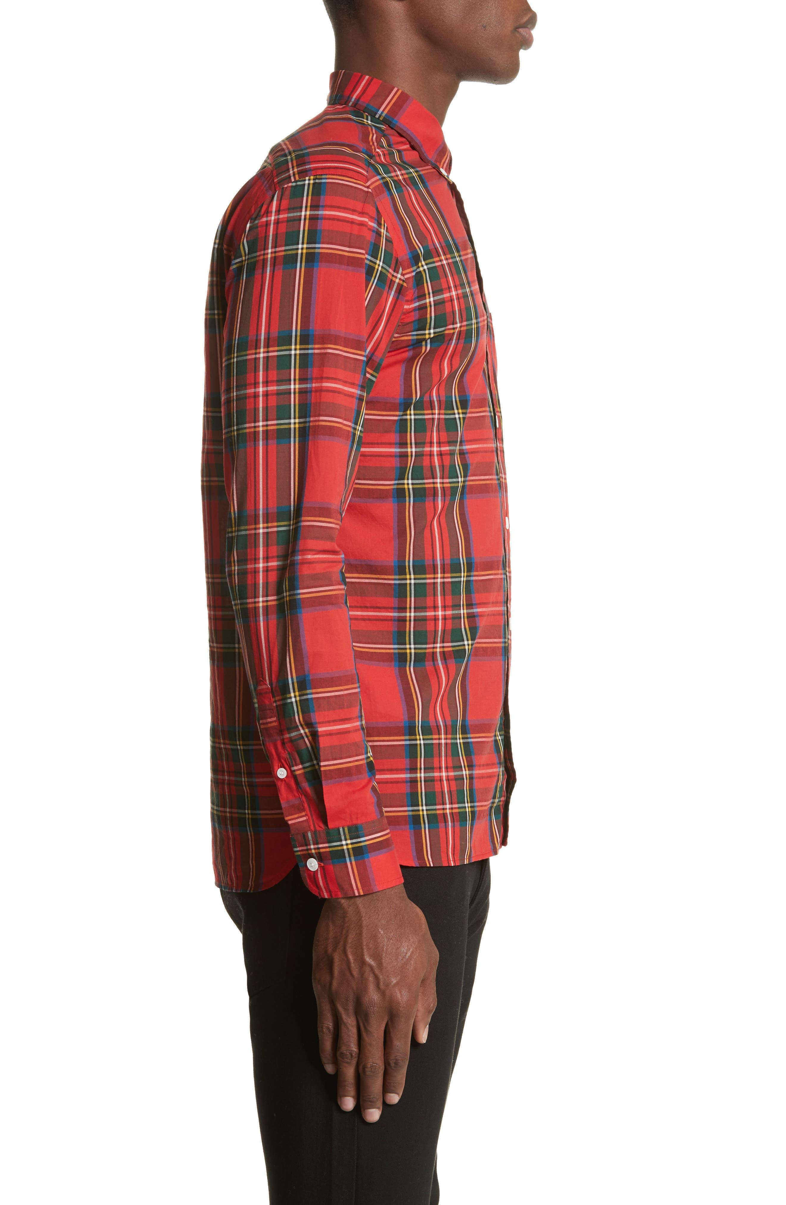 Salwick Plaid Sport Shirt,                             Alternate thumbnail 3, color,                             Bright Red