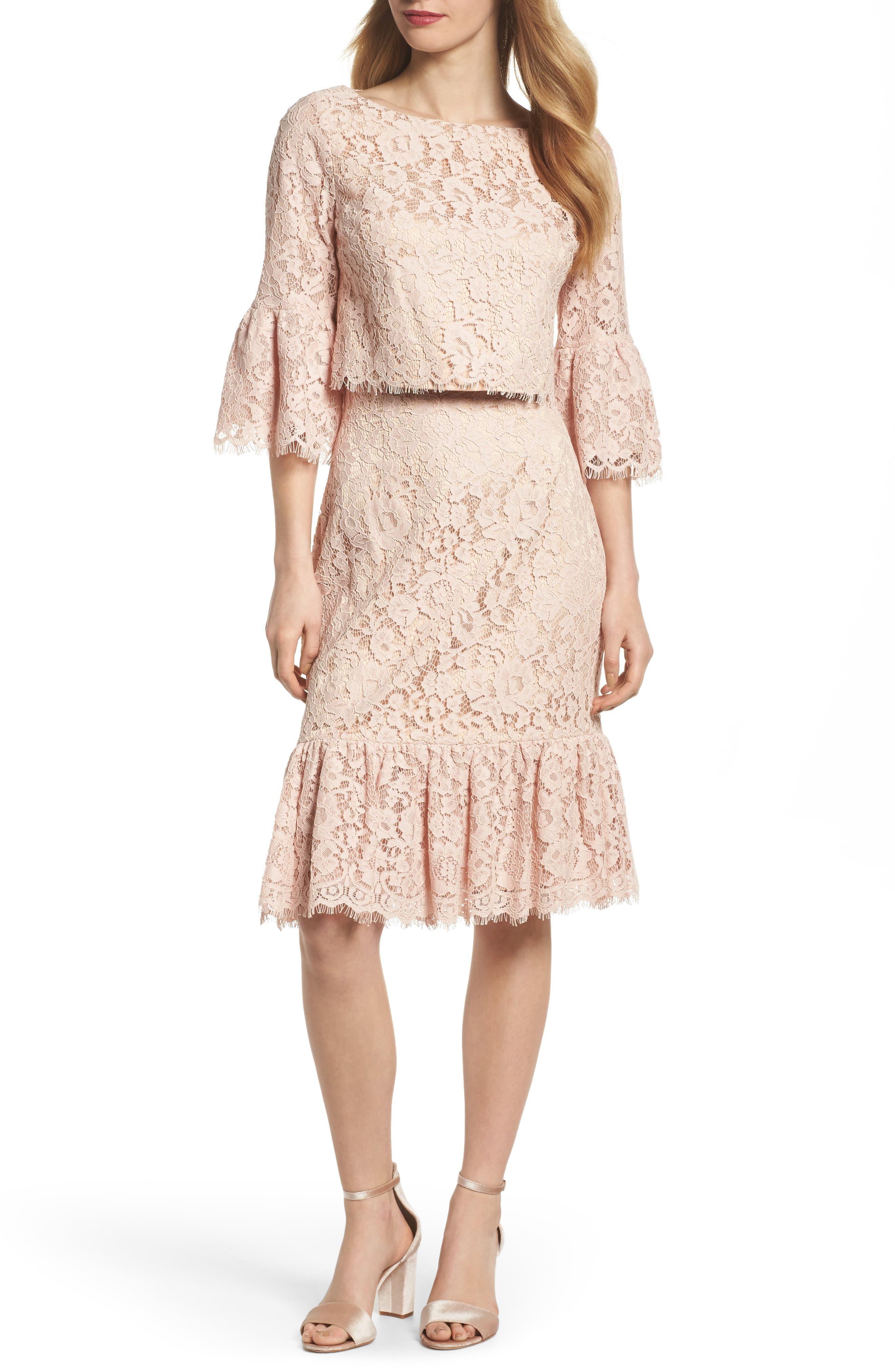 Alternate Image 1 Selected - Eliza J Ruffle Trim Lace Two-Piece Dress