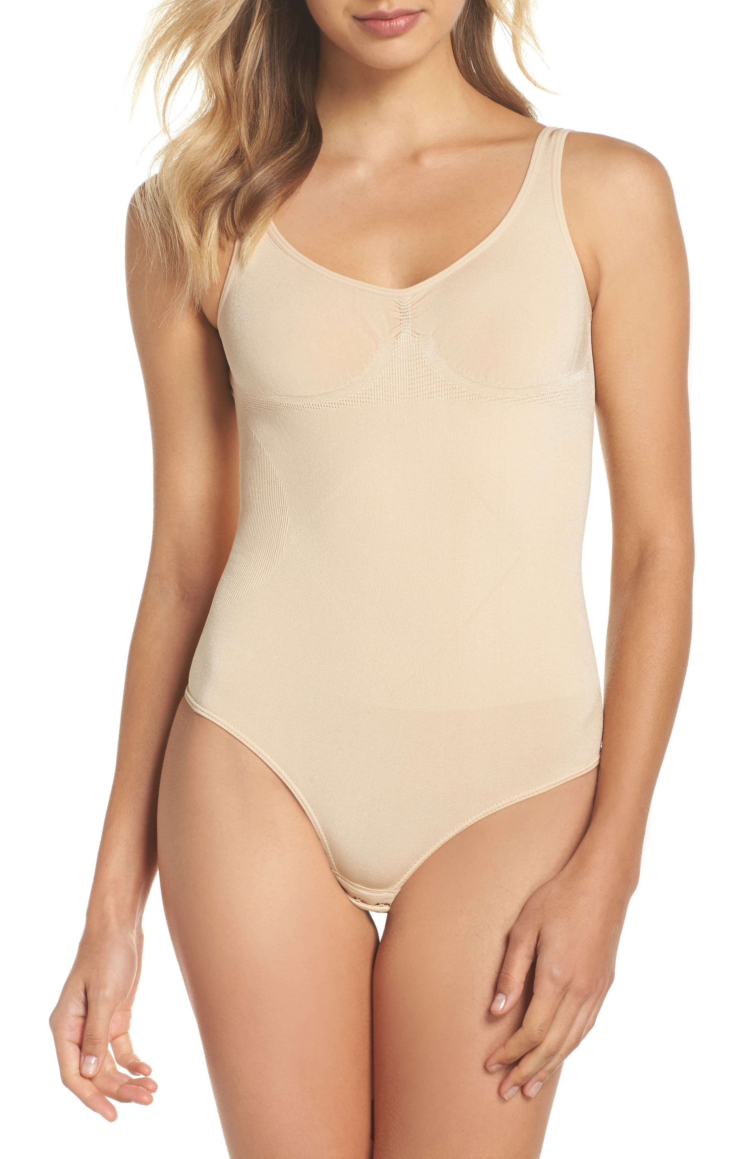 Low Back Thong Shaping Bodysuit,                             Main thumbnail 1, color,                             Latte
