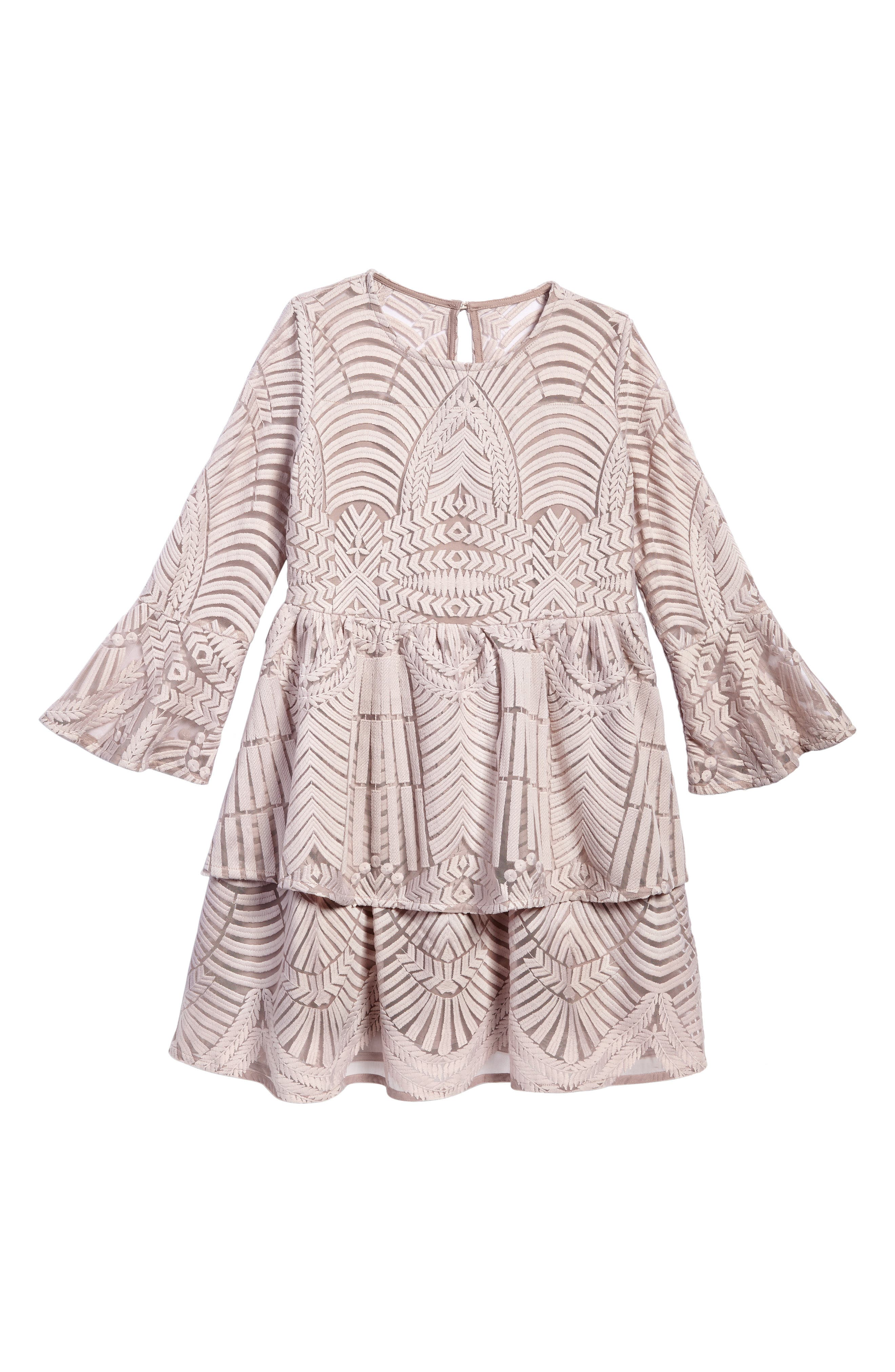 Maisie Embroidered Lace Dress,                             Main thumbnail 1, color,                             Lilac Ash