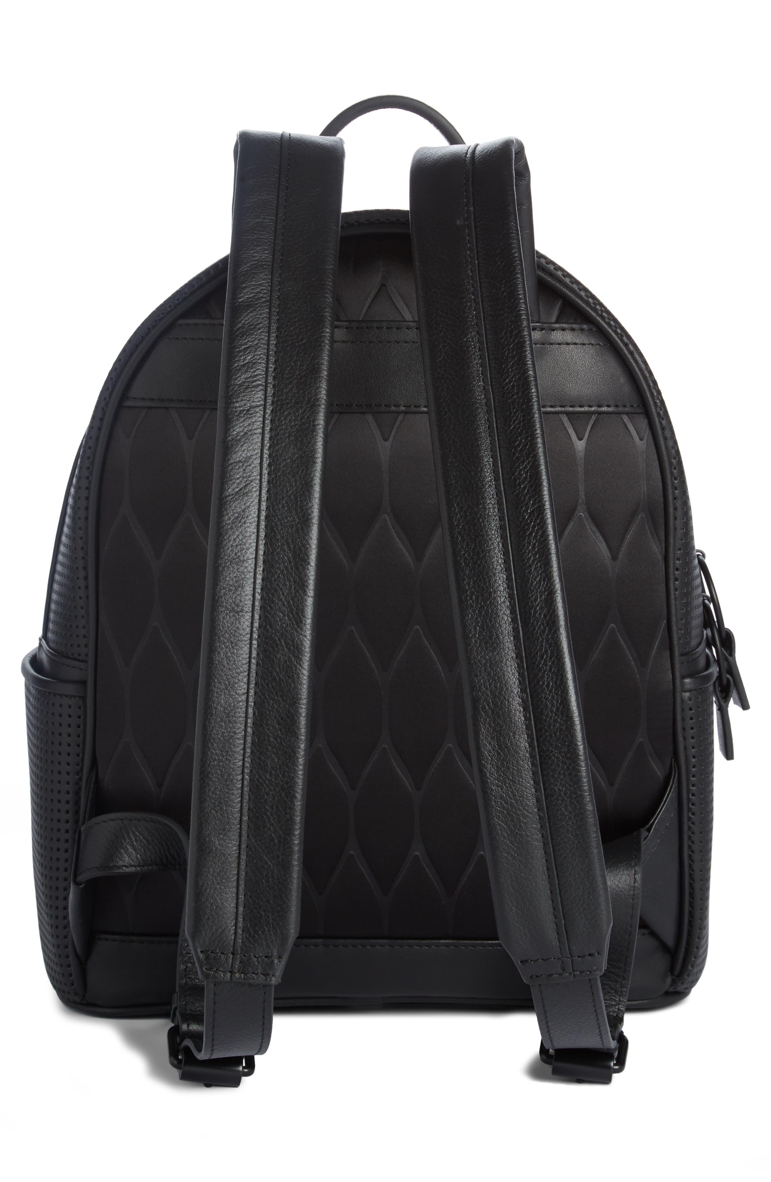 Eyes Perforated Nylon Backpack,                             Alternate thumbnail 2, color,                             Black
