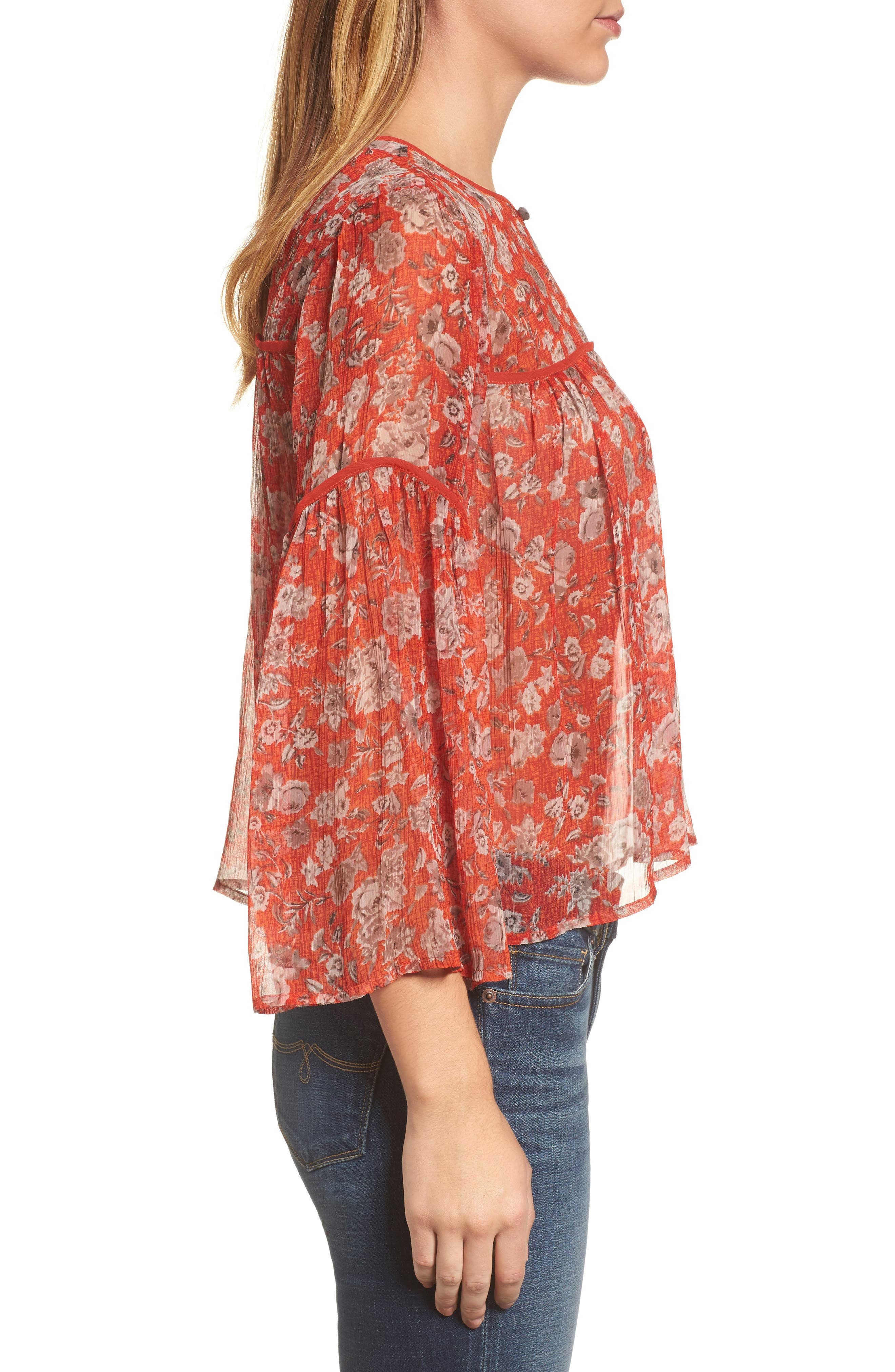 Floral Print Bell Sleeve Top,                             Alternate thumbnail 3, color,                             Red Multi
