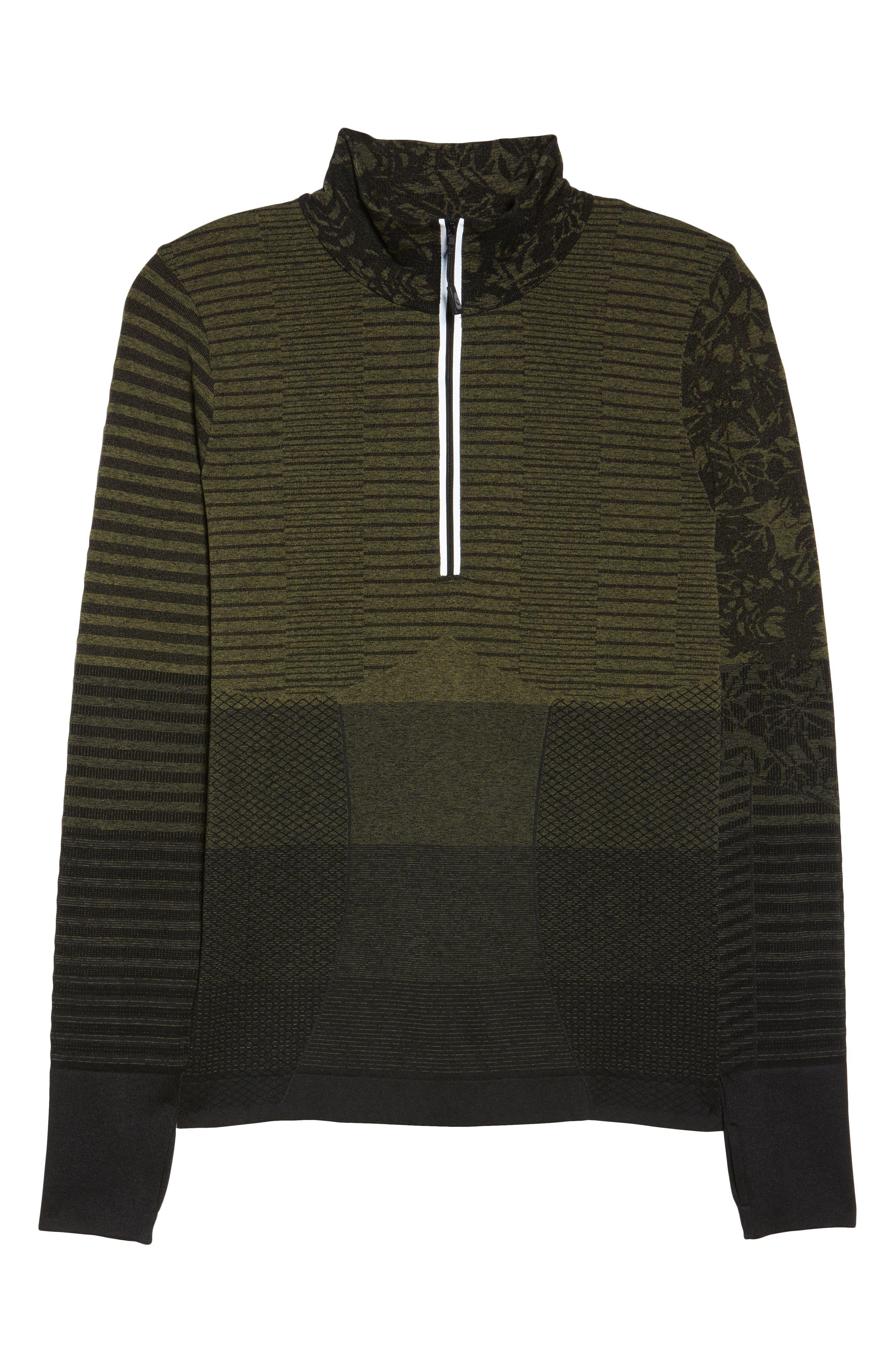 Vitality Quarter Zip Pullover,                             Alternate thumbnail 7, color,                             Deep Lichen Green/ Black