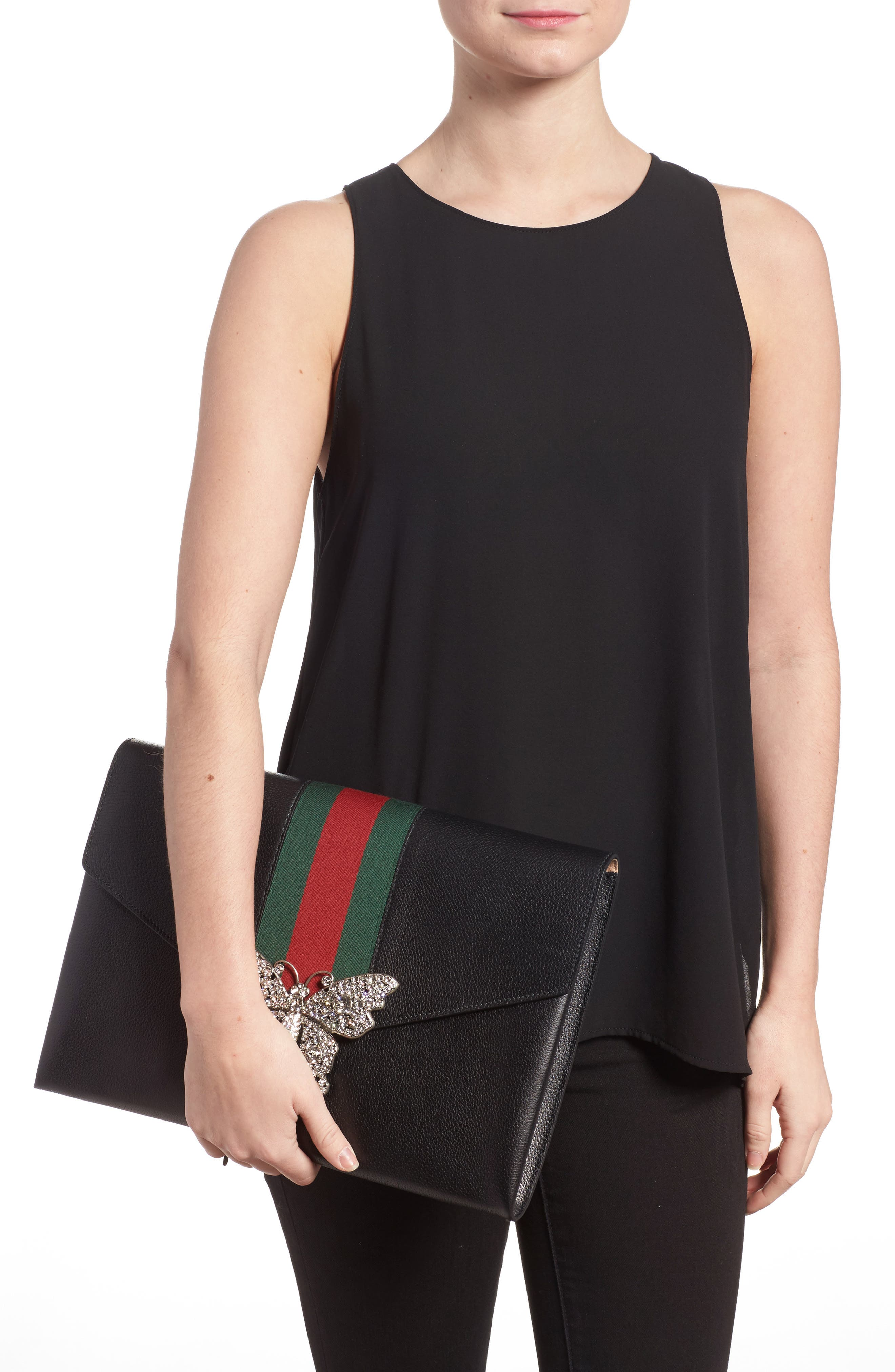 Alternate Image 2  - Gucci Totem Crystal Embellished Butterfly Leather Clutch