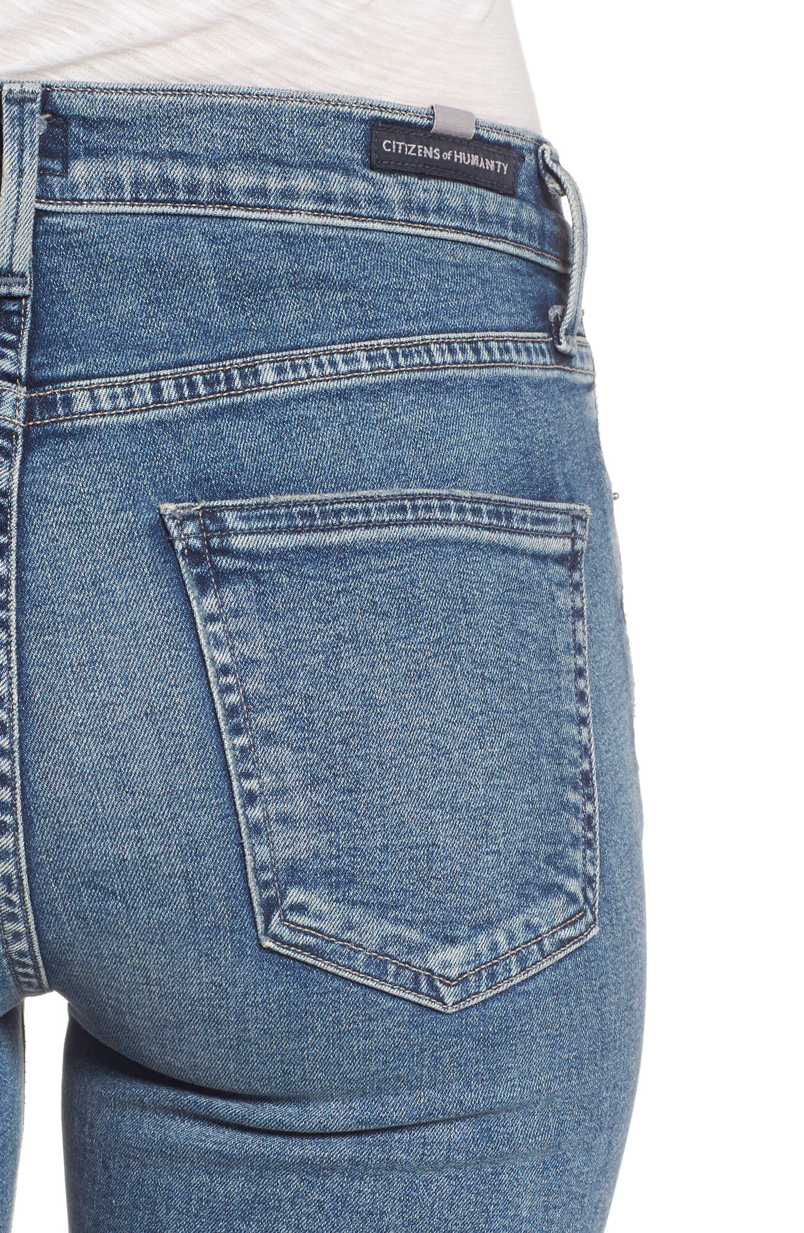 Rocket Crop Skinny Jeans,                             Alternate thumbnail 4, color,                             Orbit