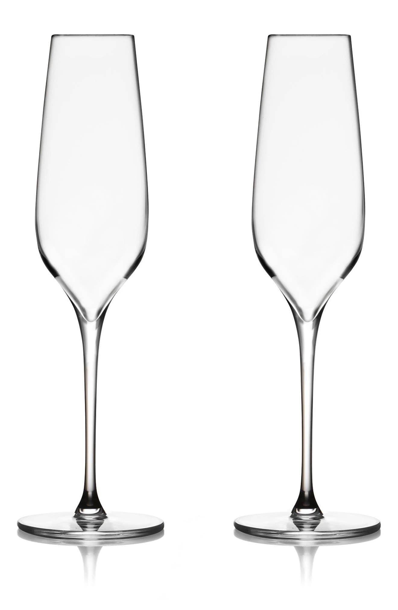 Vie Set of 2 Champagne Flutes,                             Main thumbnail 1, color,                             Clear