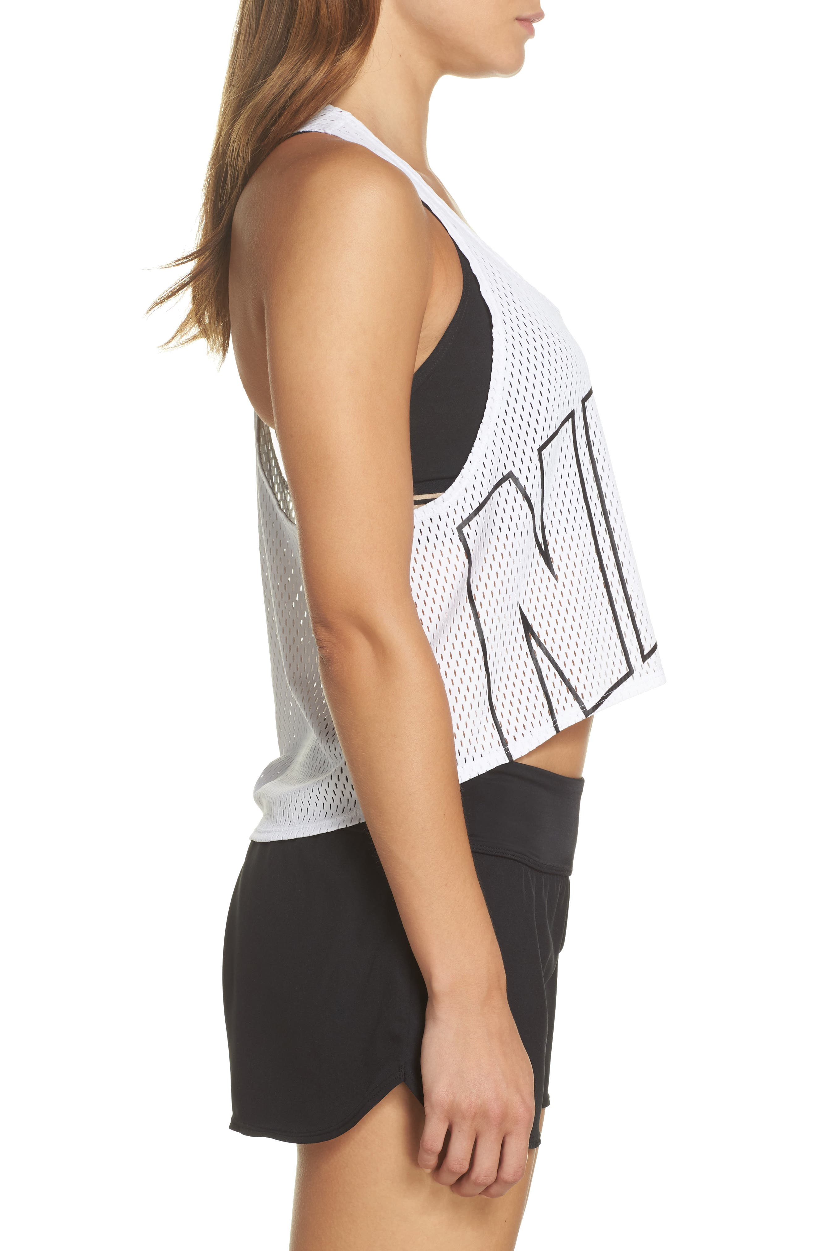 Mesh Crop Top Cover-Up,                             Alternate thumbnail 3, color,                             White
