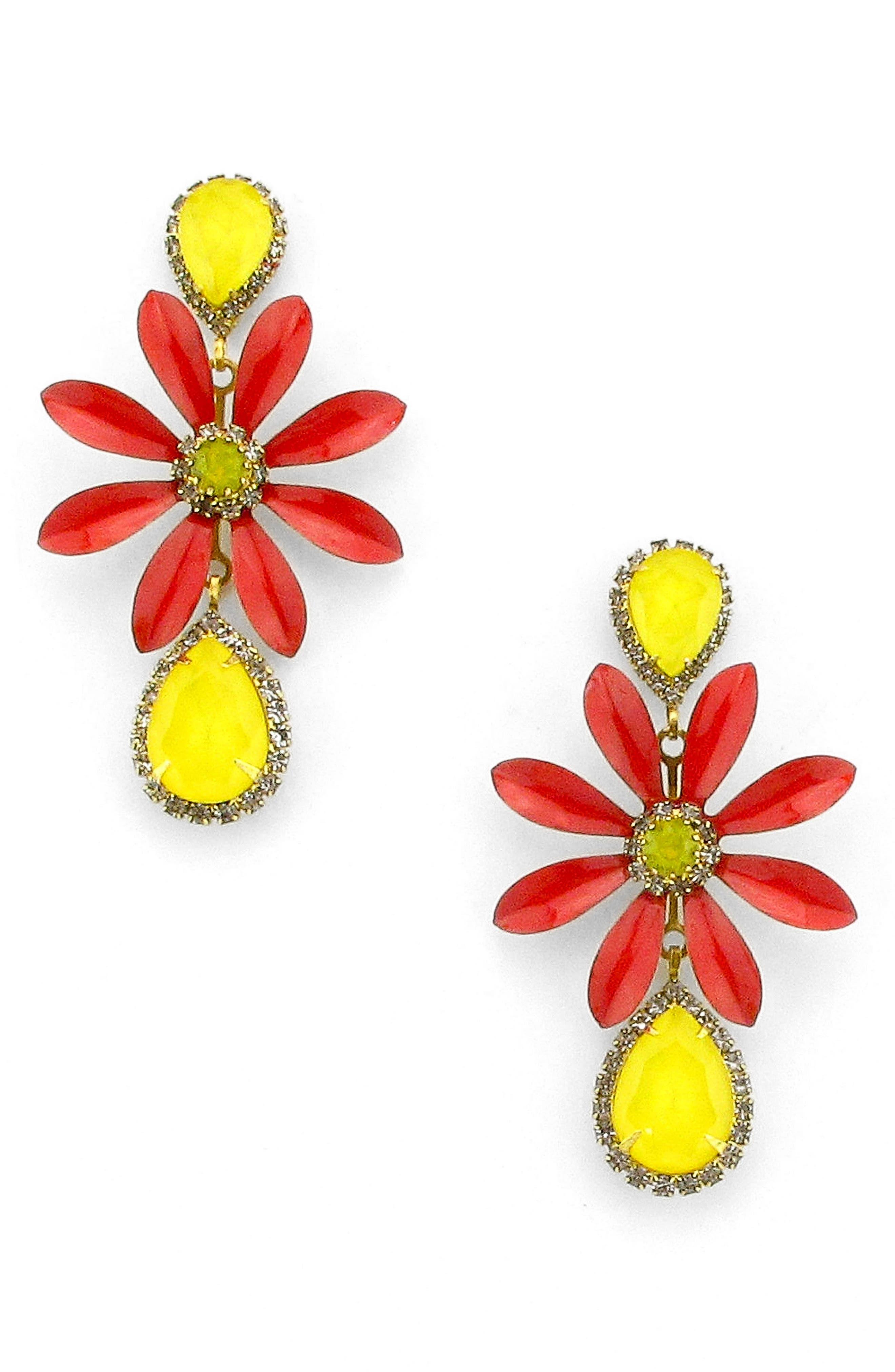 Massey Flower Drop Earrings,                         Main,                         color, Fire