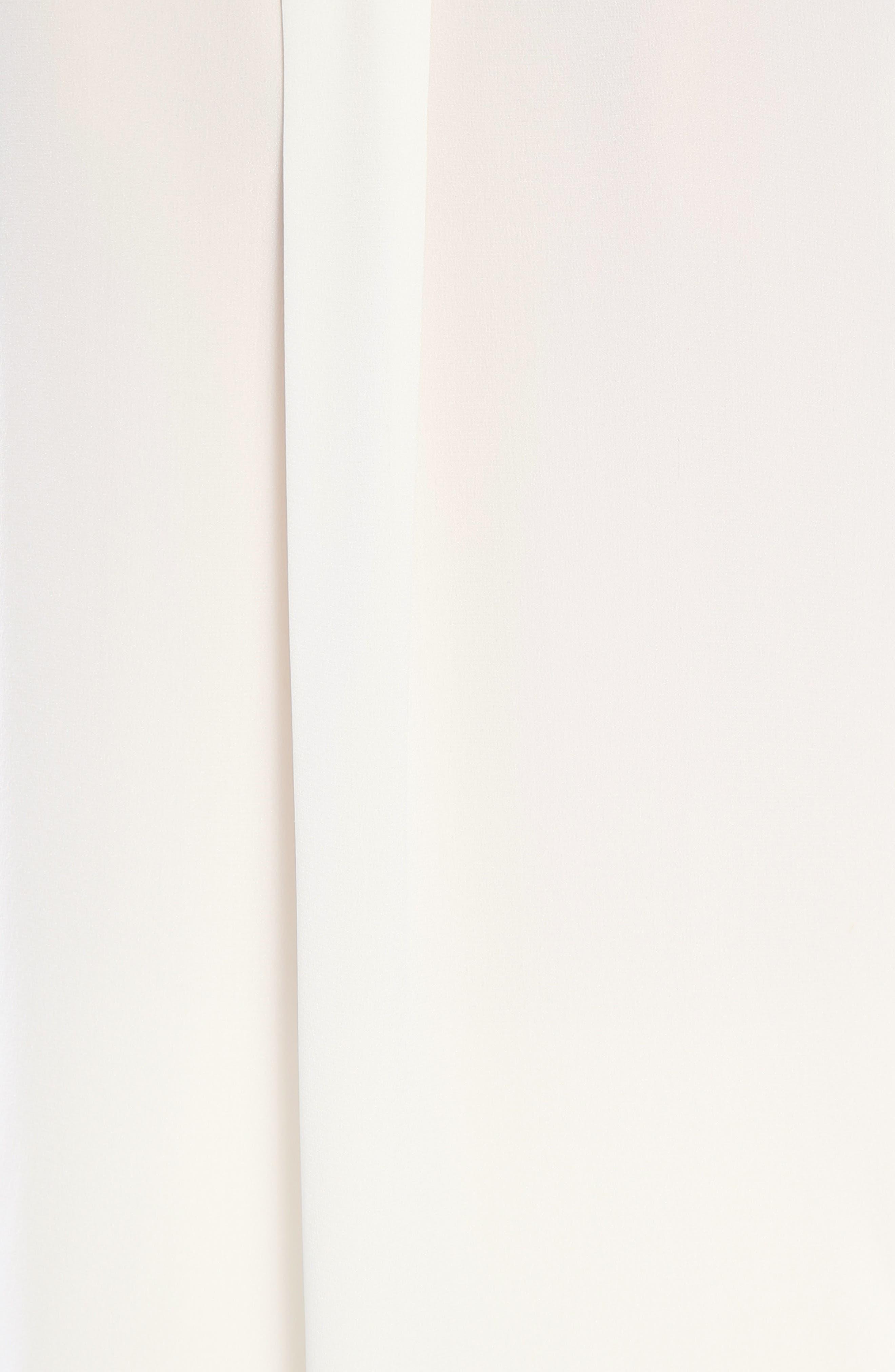 Rhinstone Trim Silk Shirt with Scarf,                             Alternate thumbnail 6, color,                             Eden White