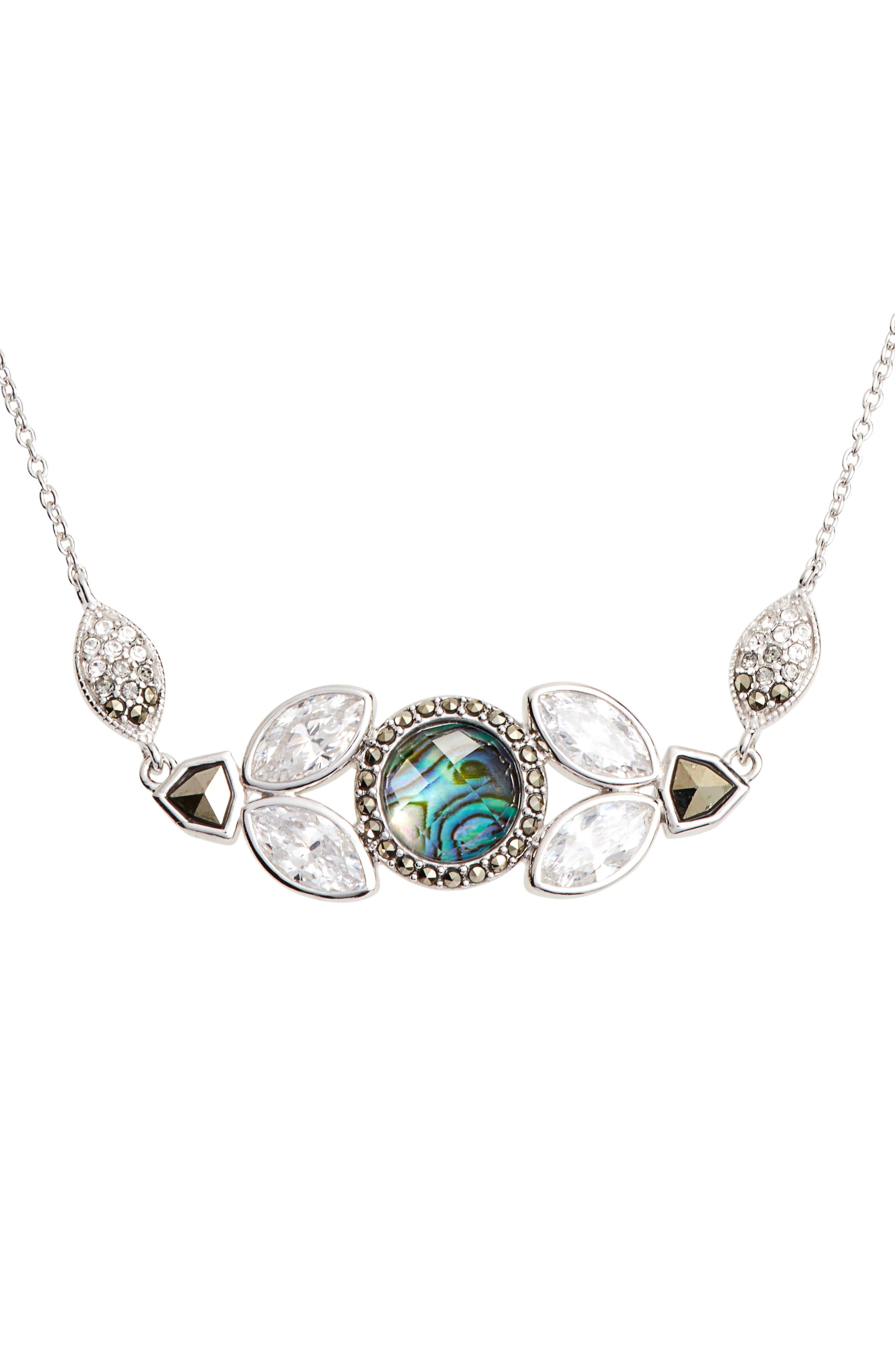 Crystal Pendant Necklace,                         Main,                         color, Abalone/ Silver