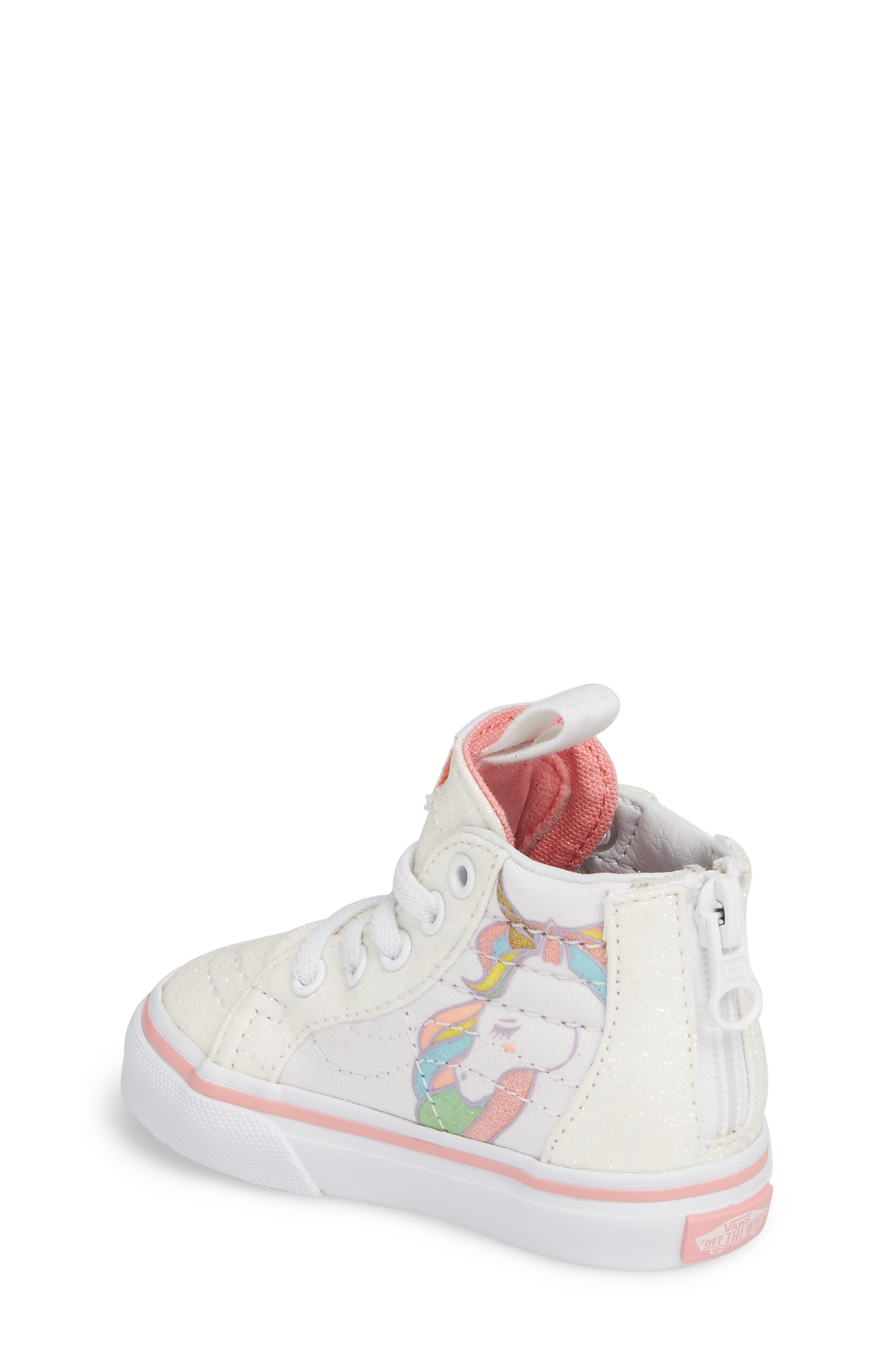 Alternate Image 2  - Vans SK8-Hi Zip Glitter Unicorn Sneaker (Baby, Walker & Toddler)