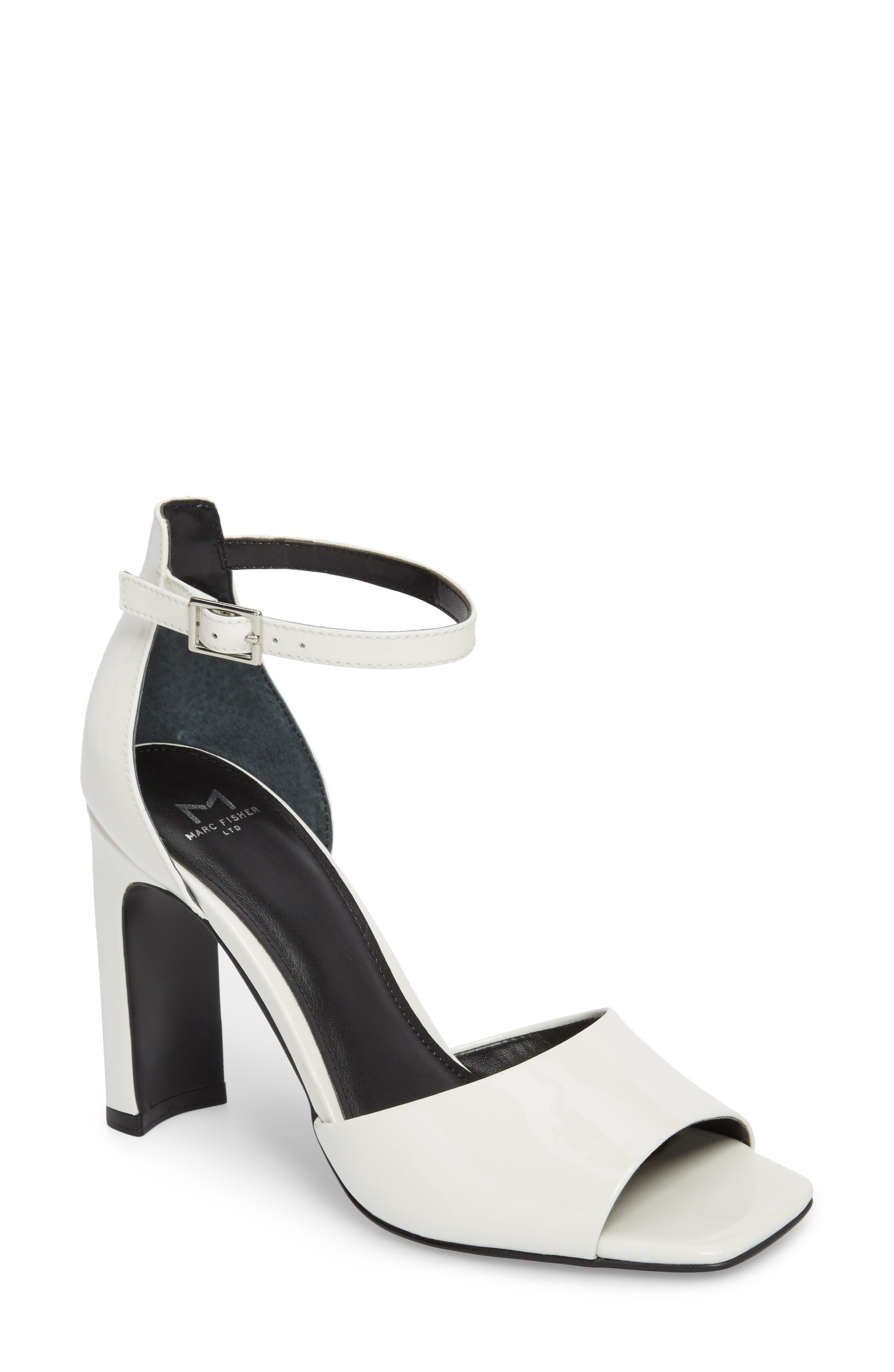 Harlin Ankle Strap Sandal,                         Main,                         color, White Patent